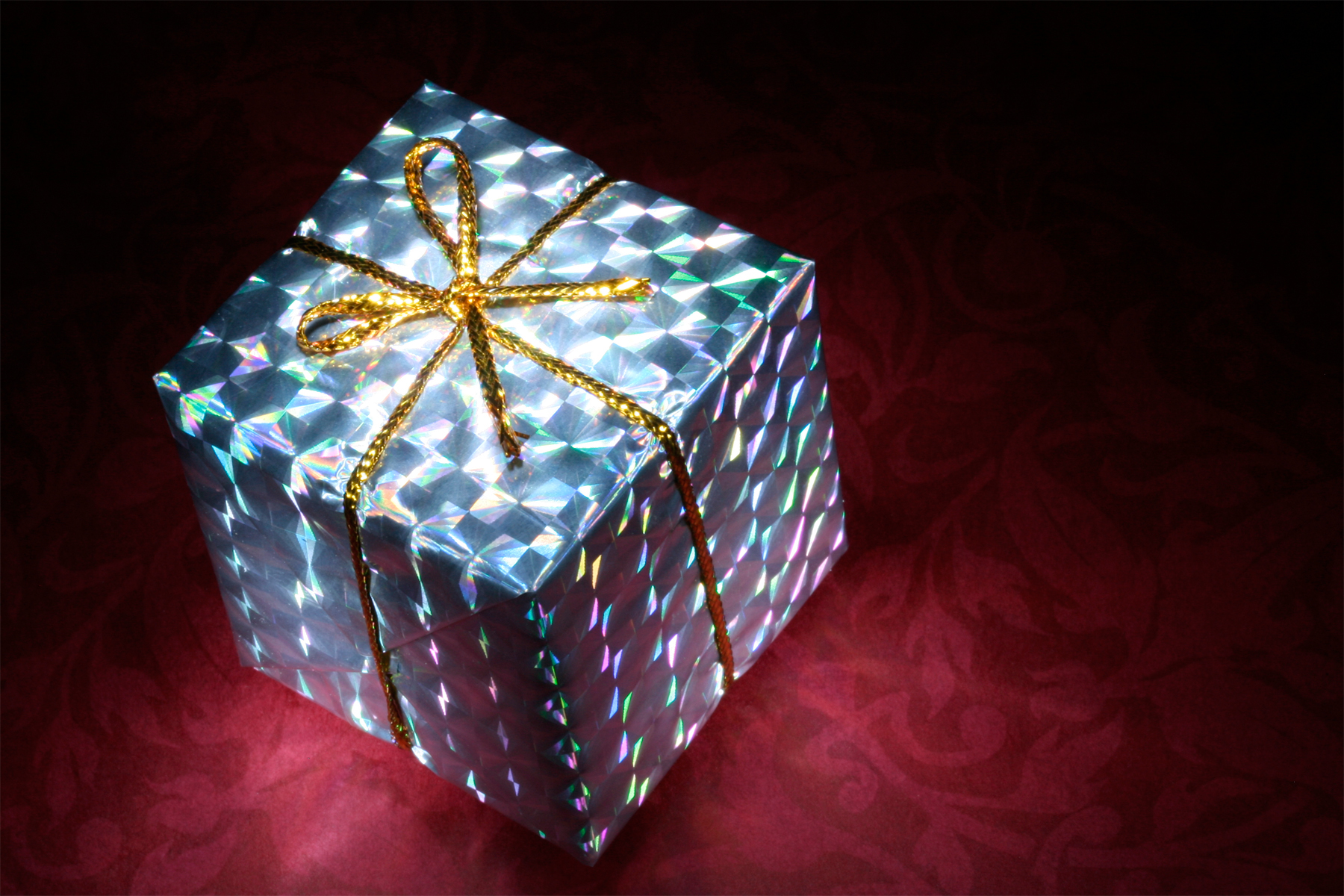 Glowing Gift Box, Black, Red, Light, Lights, HQ Photo