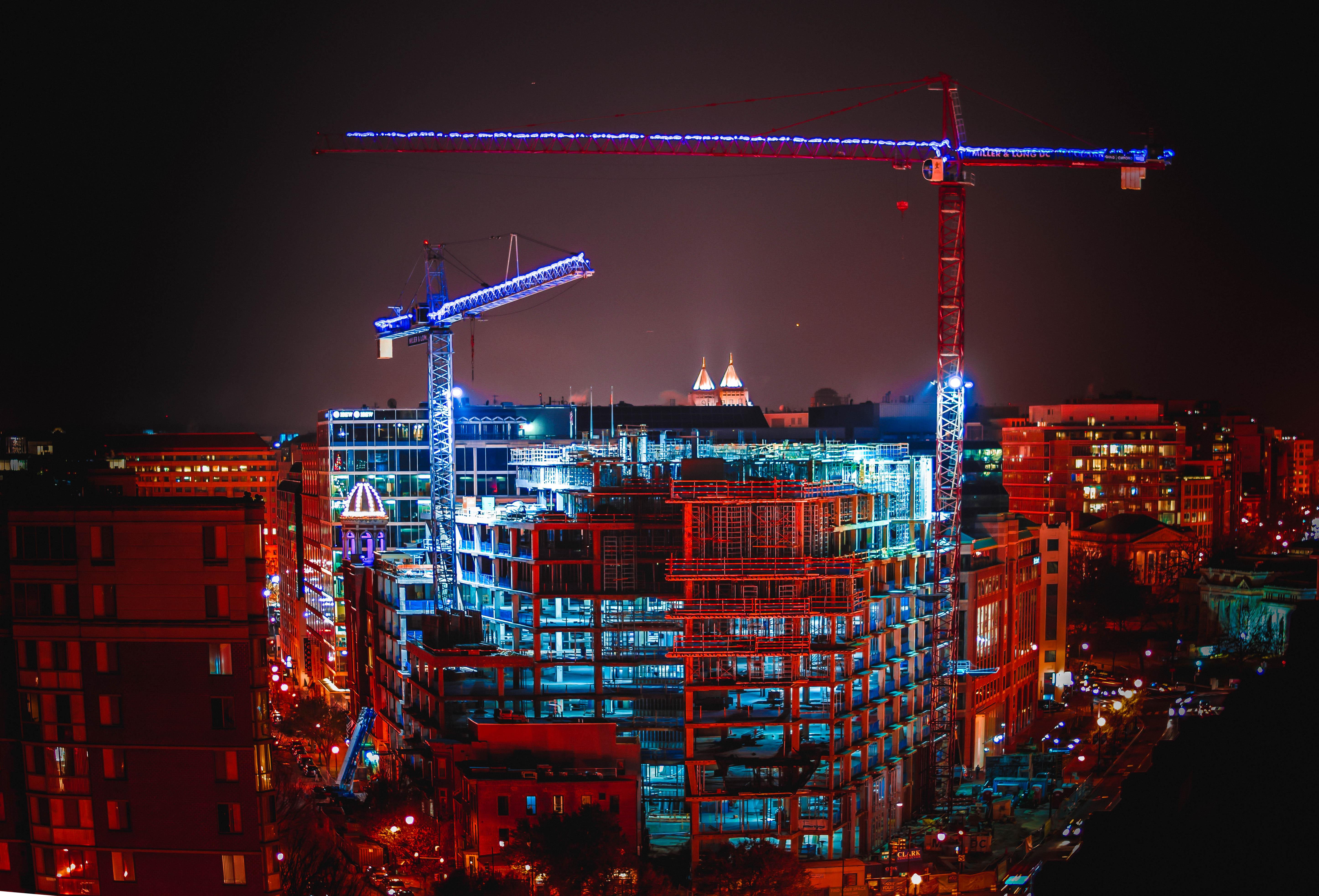 Glowing Night Cranes in Washington, DC, Blue, District, Urban, Skyline, HQ Photo