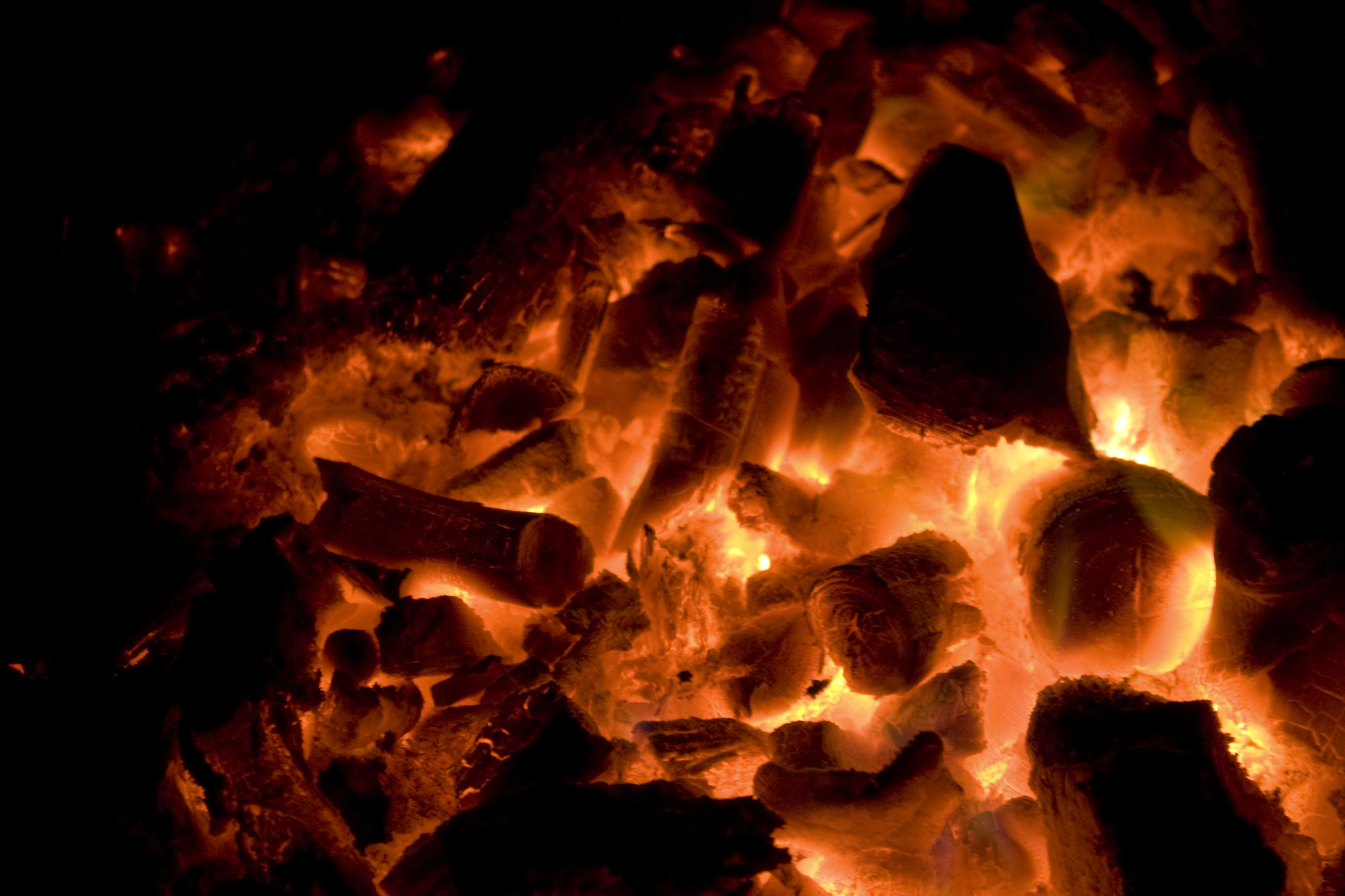 Glowing red hot coals, Hellish, Hot, Heat, Inferno, HQ Photo