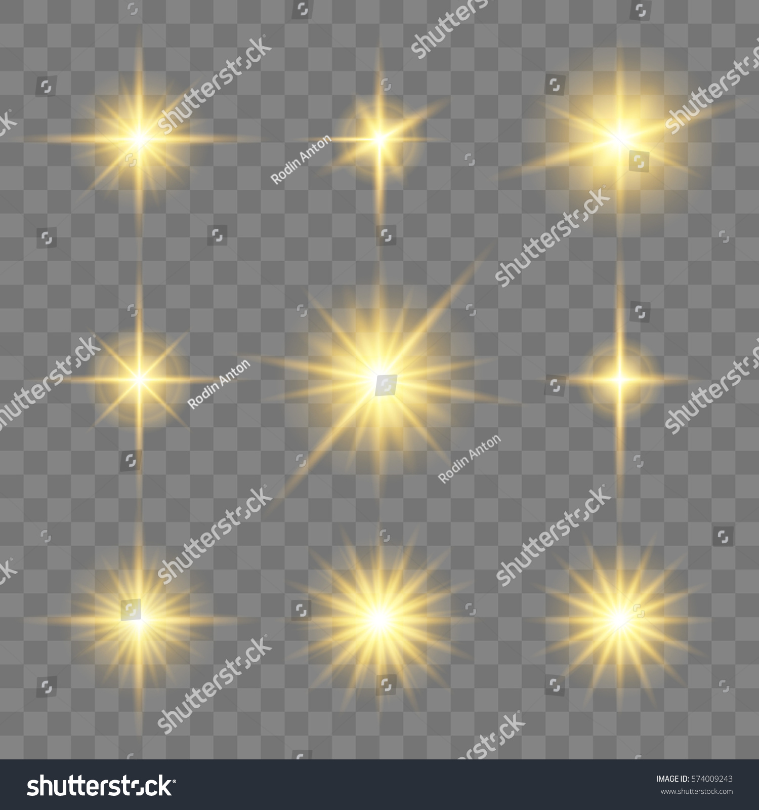 Set Golden Glowing Star Vector Light Stock Vector 574009243 ...