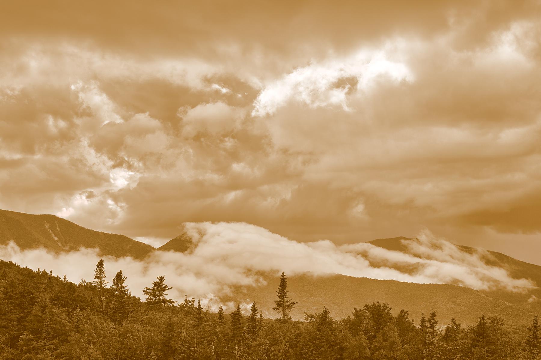 Glowing White Mountain Clouds - Sepia Cream Dream, America, Nh, Scene, Rays, HQ Photo