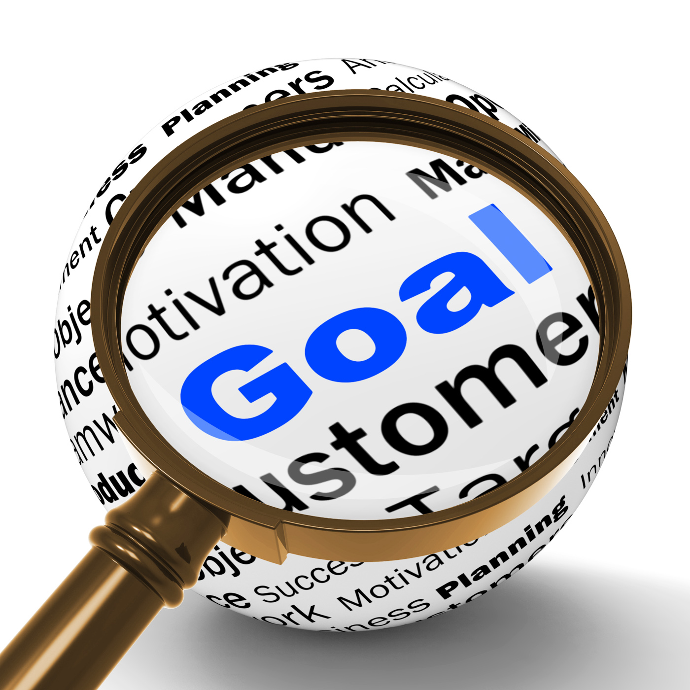Goal magnifier definition shows future aims and aspirations photo