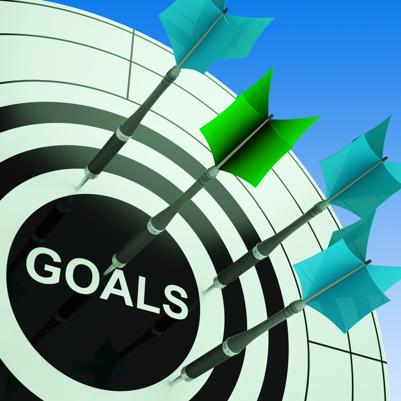 Goals On Dartboard Showing Future Plans, Inspiration, Targeting, Target, Strategy, HQ Photo