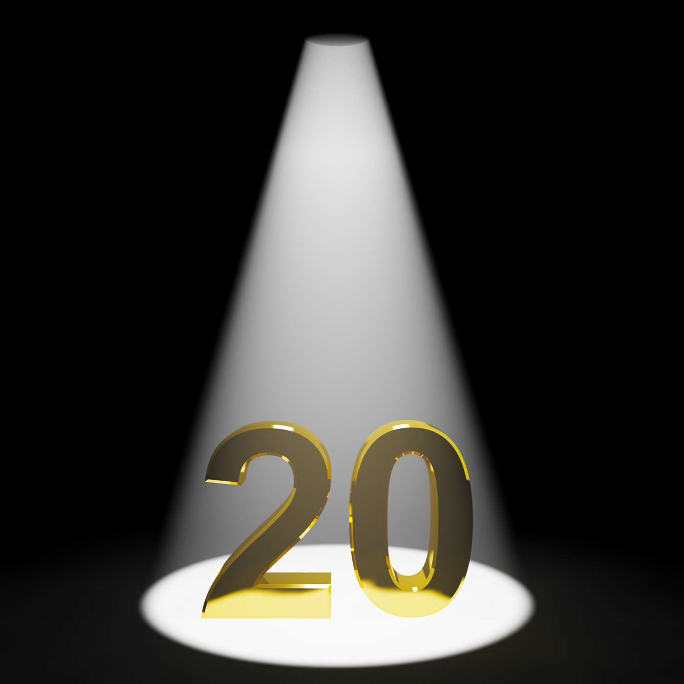 Gold 20th or twenty 3d number showing anniversary or birthday photo