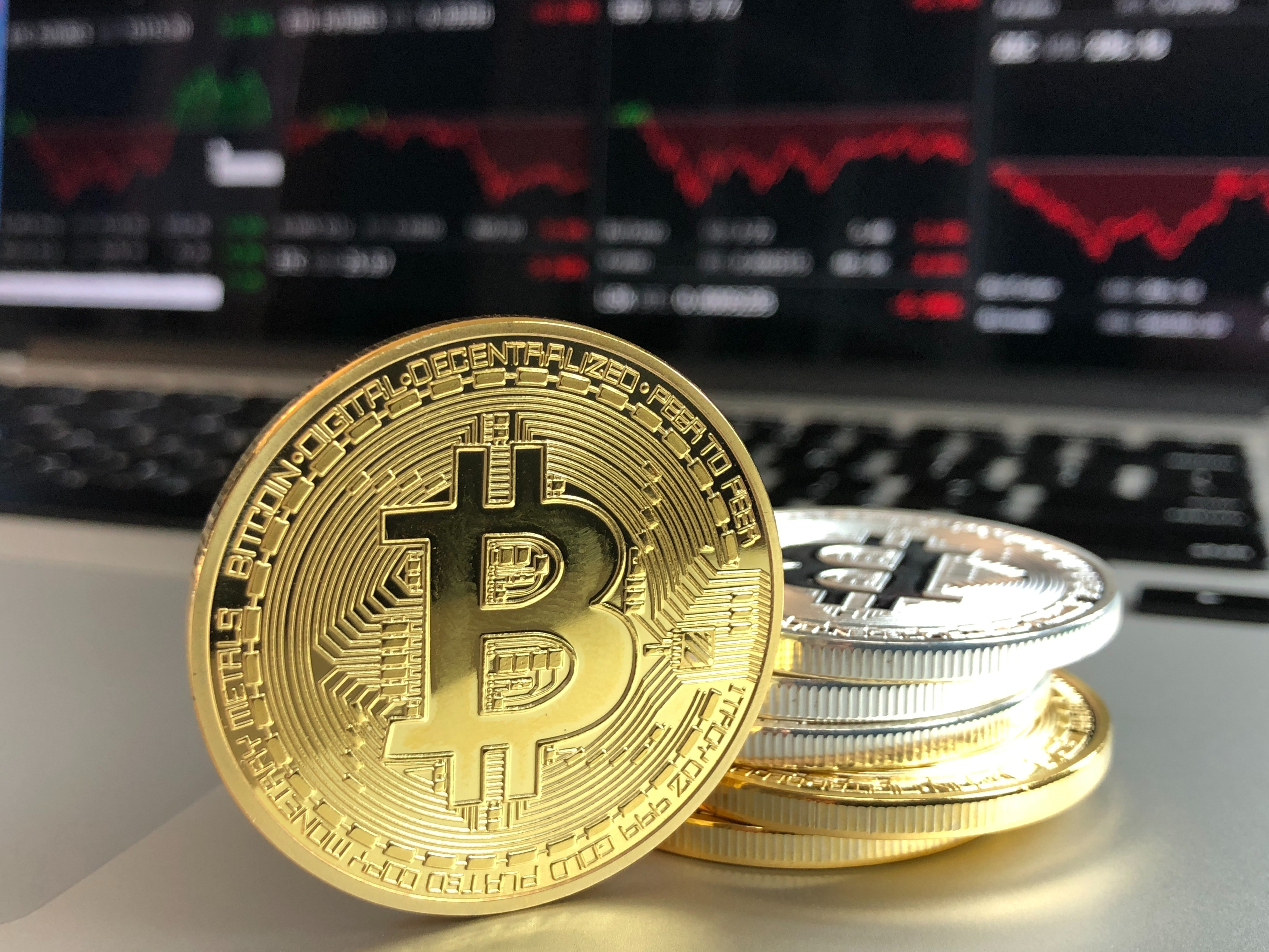 Gold and Silver Bitcoins, Finance, Wealth, Symbol, Stack, HQ Photo