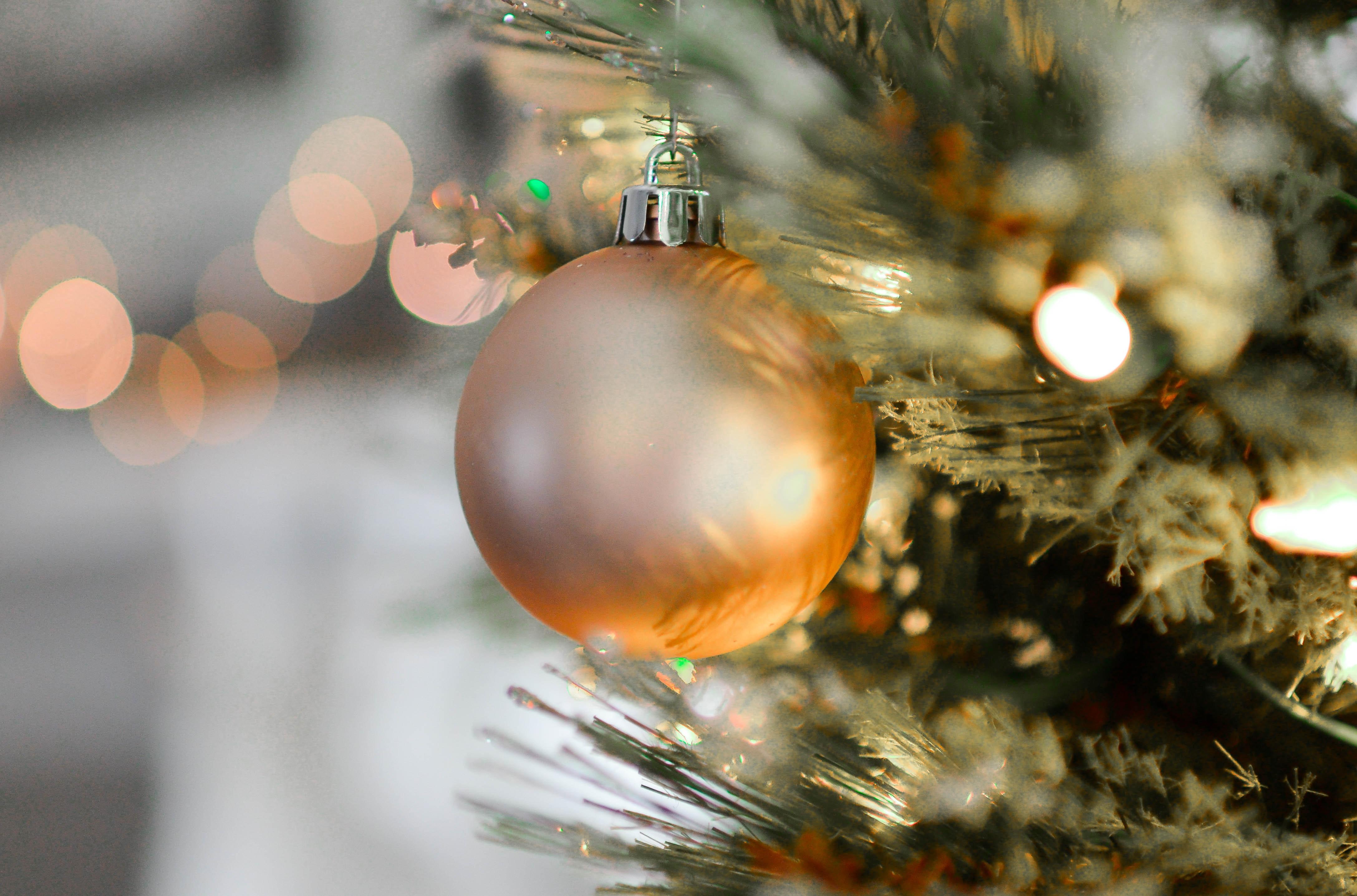 Gold Christmas Ball Decor, Ball, Gold, Tree, Sphere, HQ Photo