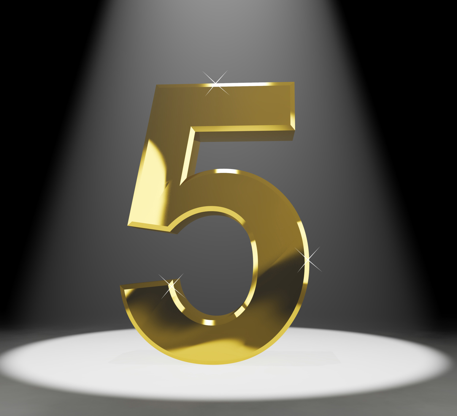 Gold Five Or 5 3d Number Closeup Representing Anniversary Or Birthday, 3d, Golden, Stage, Spotlight, HQ Photo