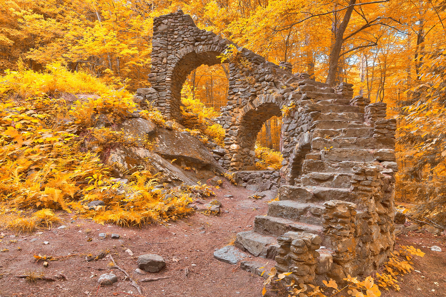 Gold Forest Castle Ruins - HDR, Abandoned, Rocky, Staircase, Stair, HQ Photo