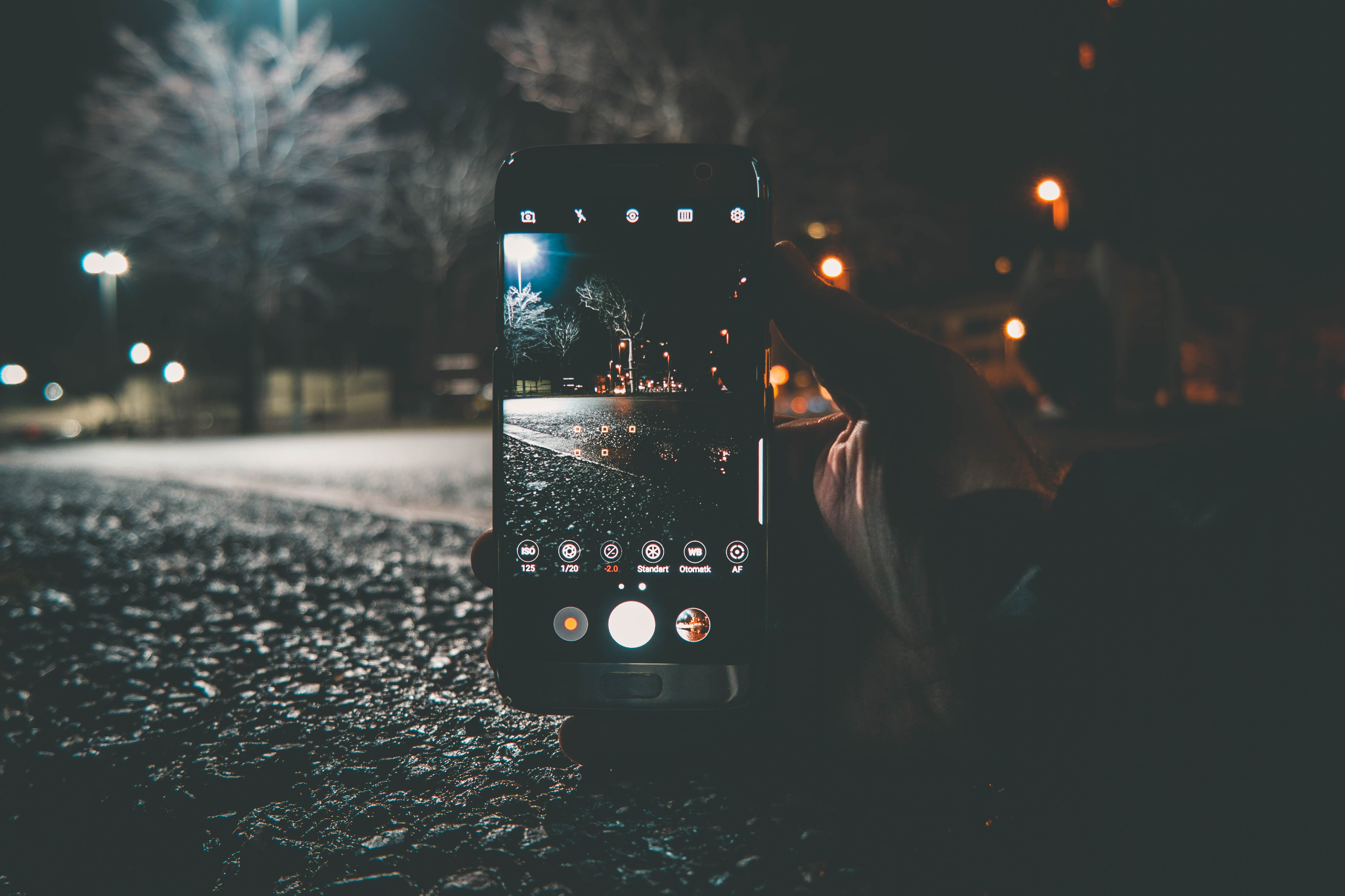 Gold Samsung Android Smartphone Turned on, Bokeh, Person, Trees, Taking photo, HQ Photo