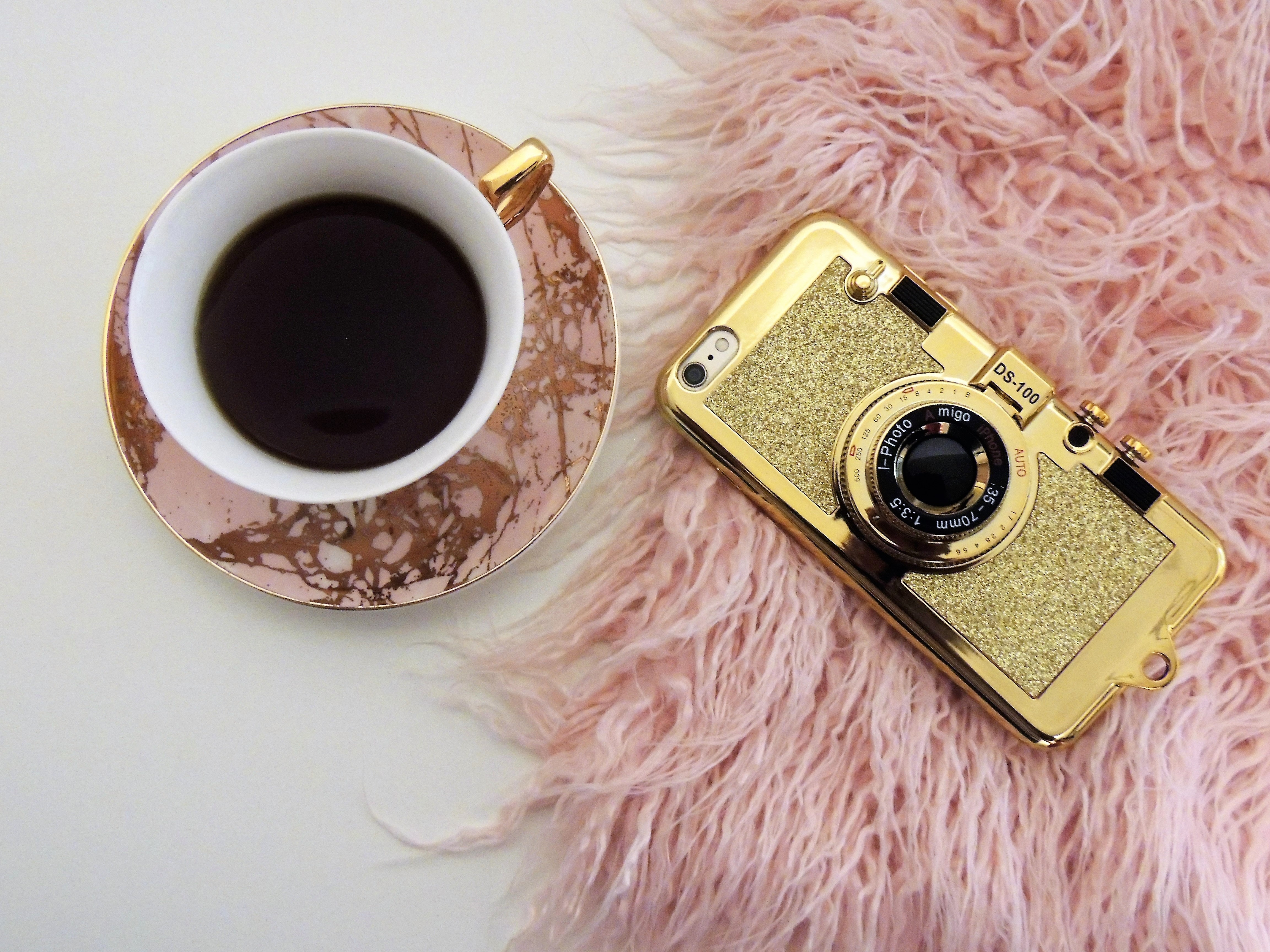 Gold Smartphone With Clip Lens, Black coffee, Drink, Tea, Saucer, HQ Photo