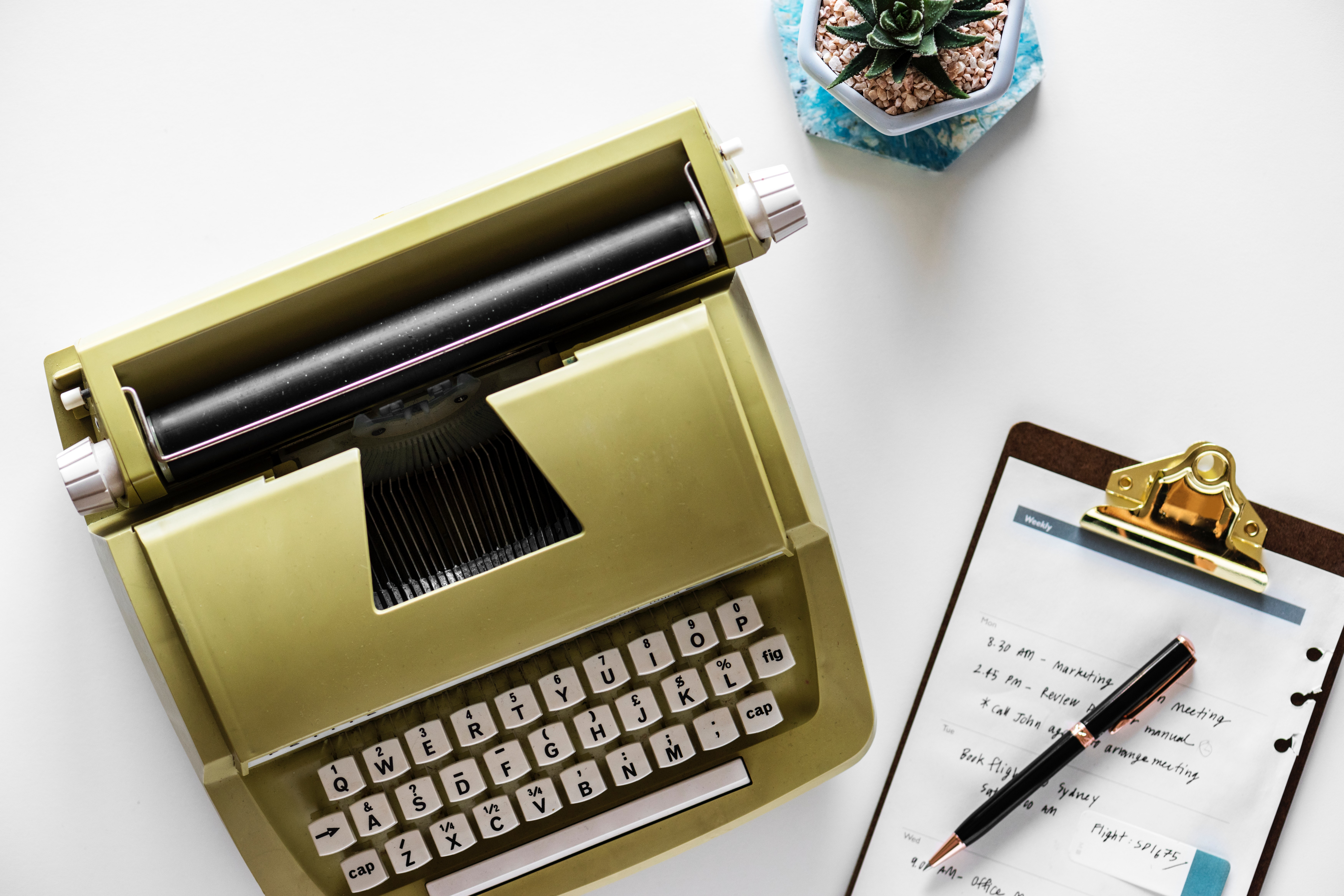 Gold Type Writer Beside Clip Board and Click Pen, Close -up, Desk, Equipment, Keyboard, HQ Photo