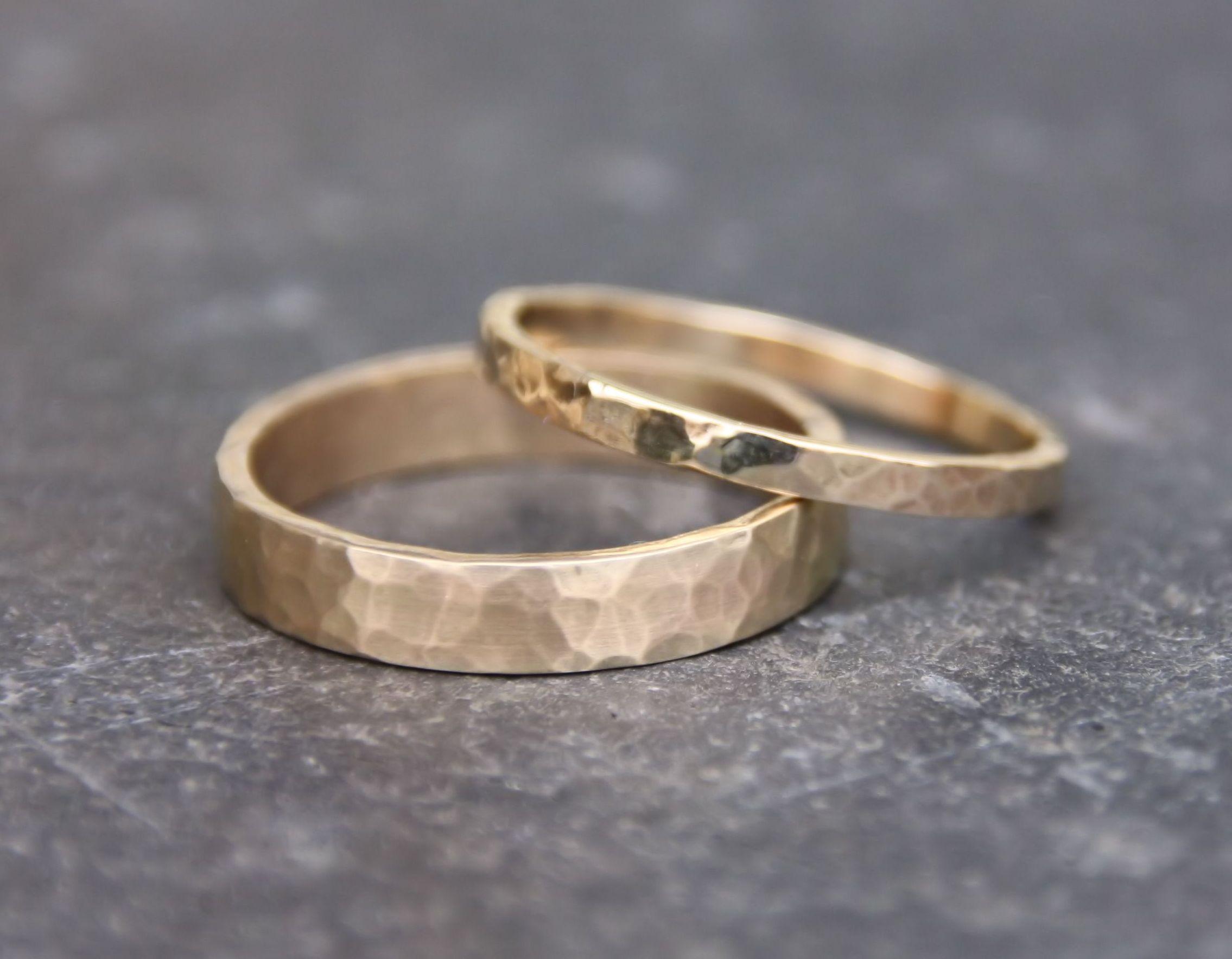 Gold Wedding Ring Set / Handmade 14k Gold Hammered / Eco Friendly ...