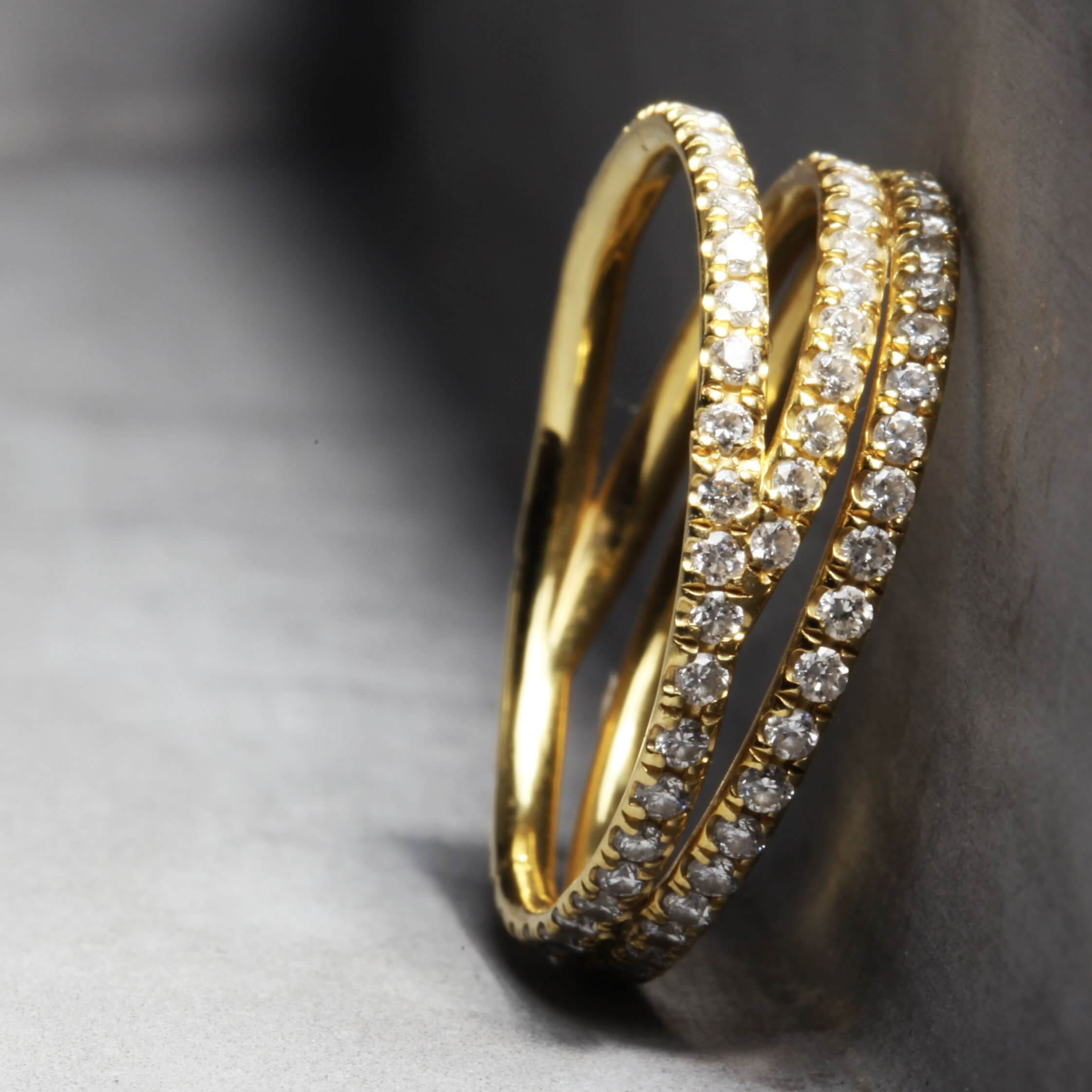 MAJA BOND | Grace Ring - Yellow Gold with White Diamonds