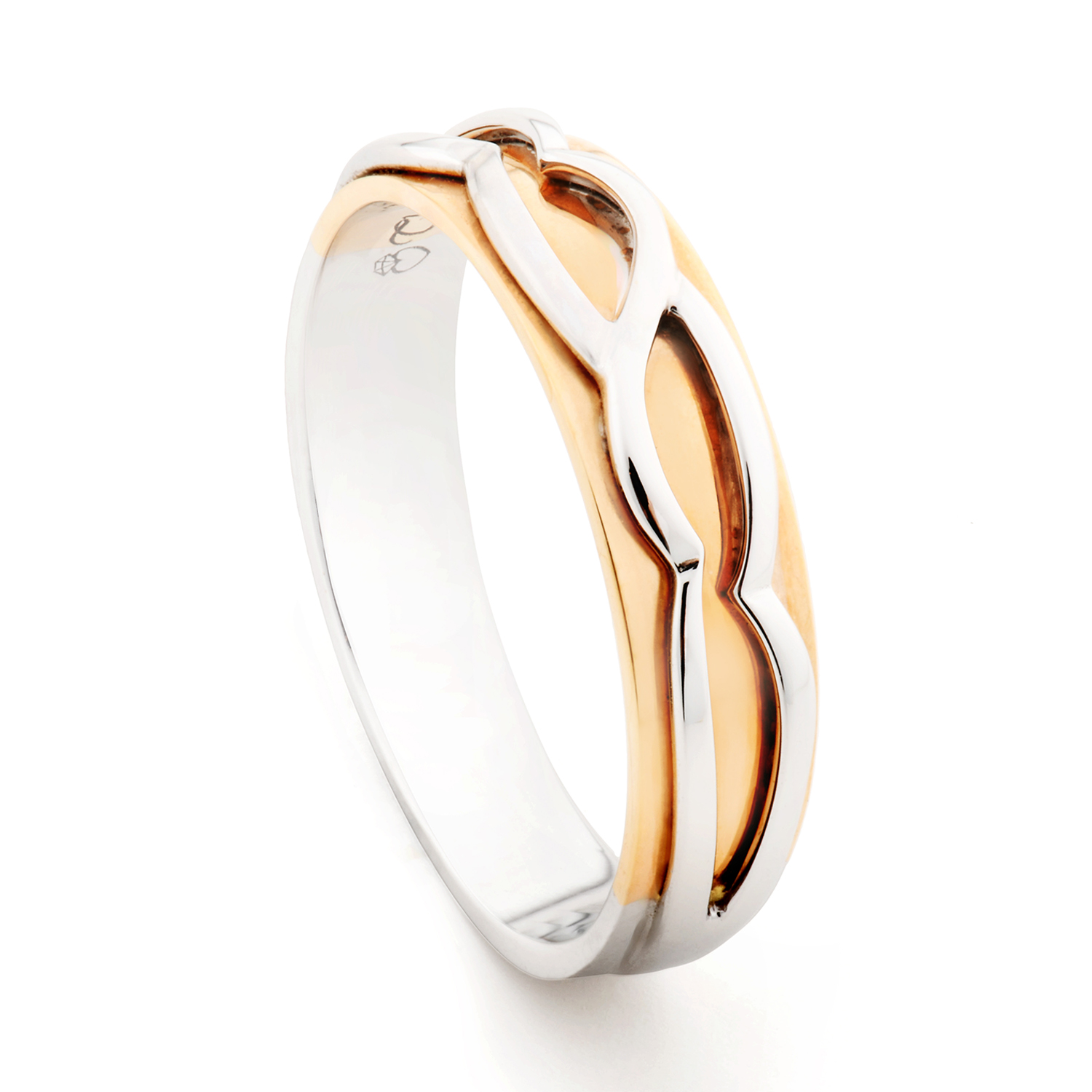 TOMEI The Knot 18K White & Rose Gold Diamond Couple Ring ...