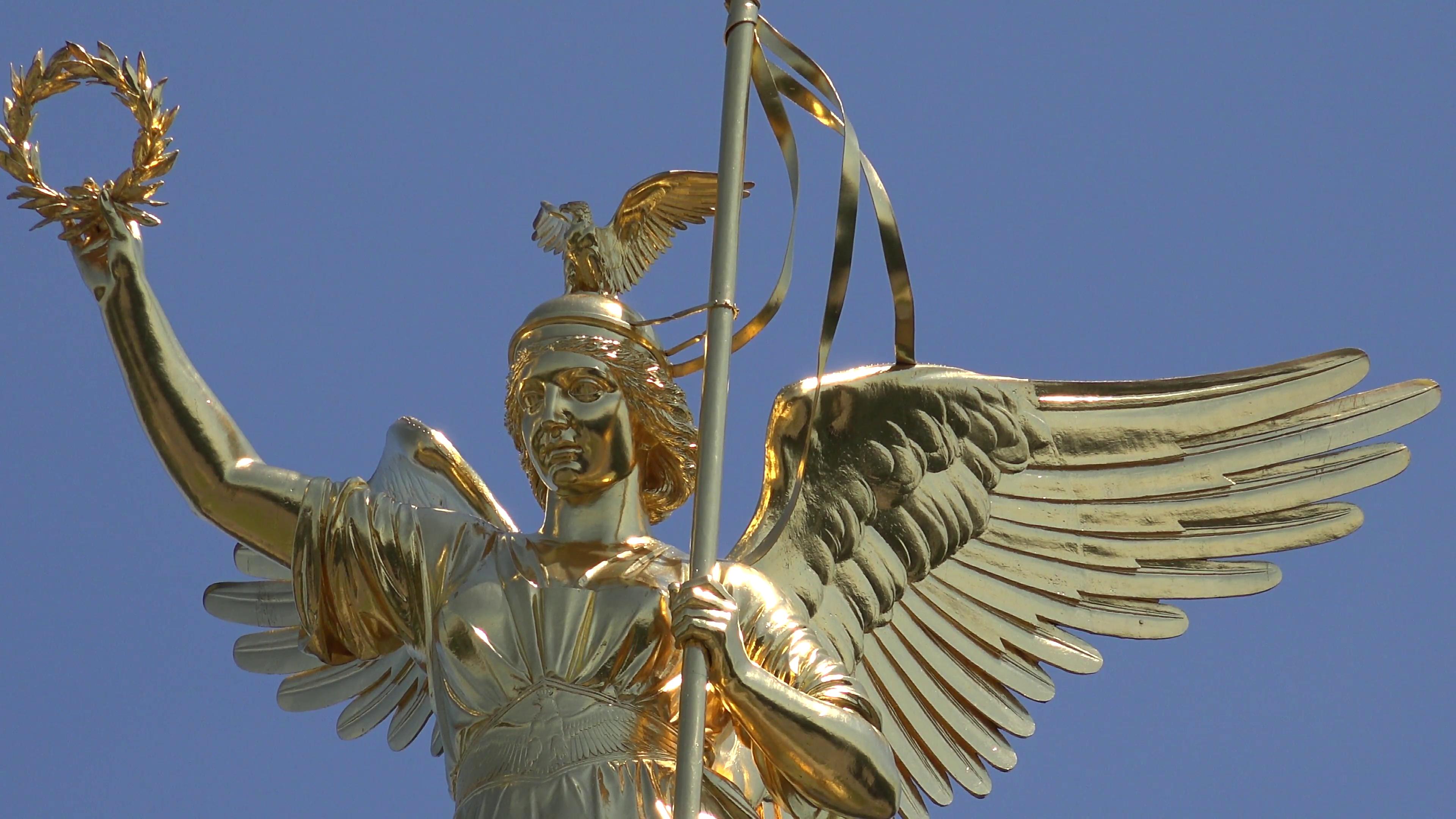 ULTRA HD 4K Closeup Victory Column golden statue Berlin national ...