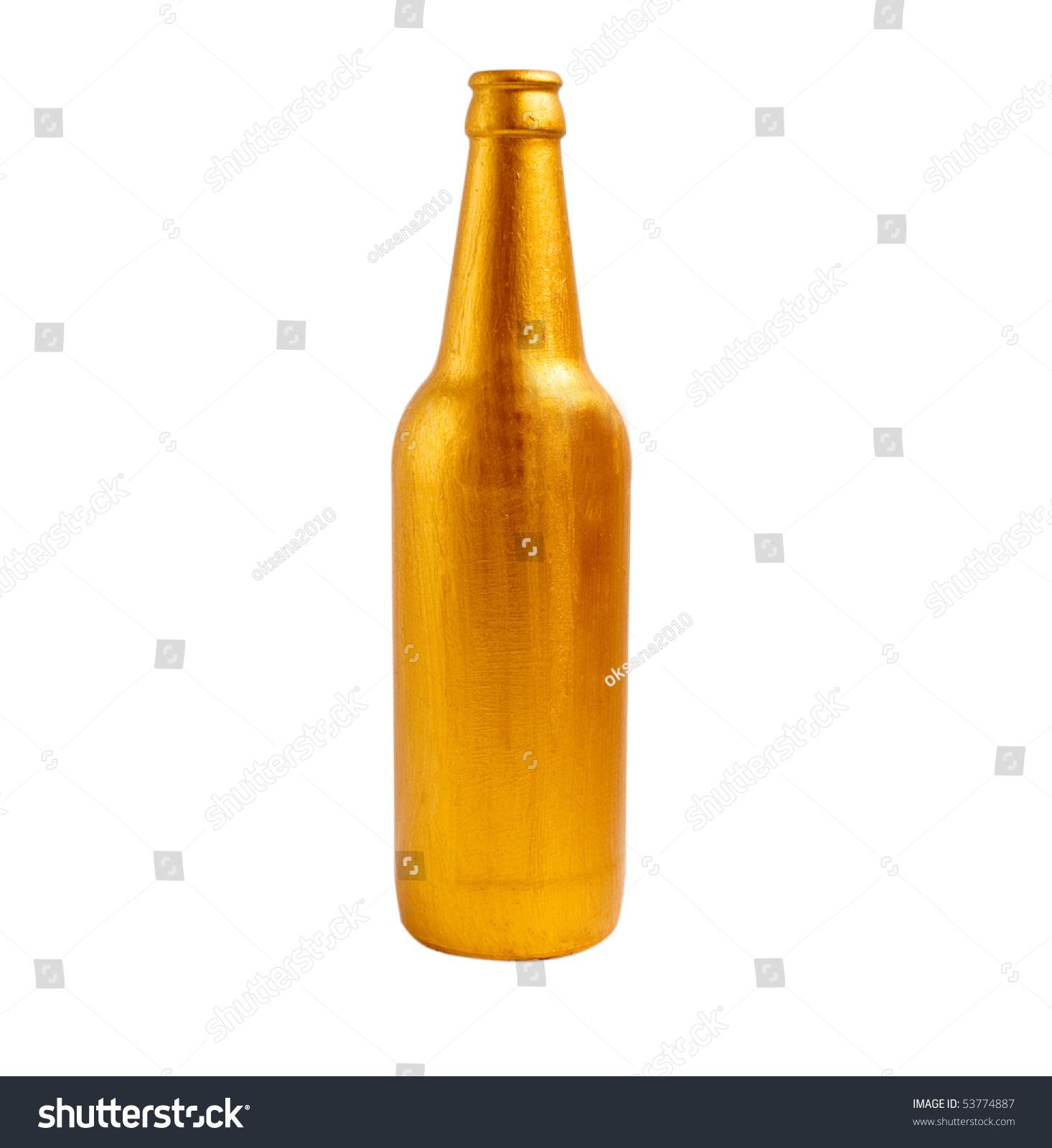 Golden Bottle On White Background Stock Photo (Royalty Free ...