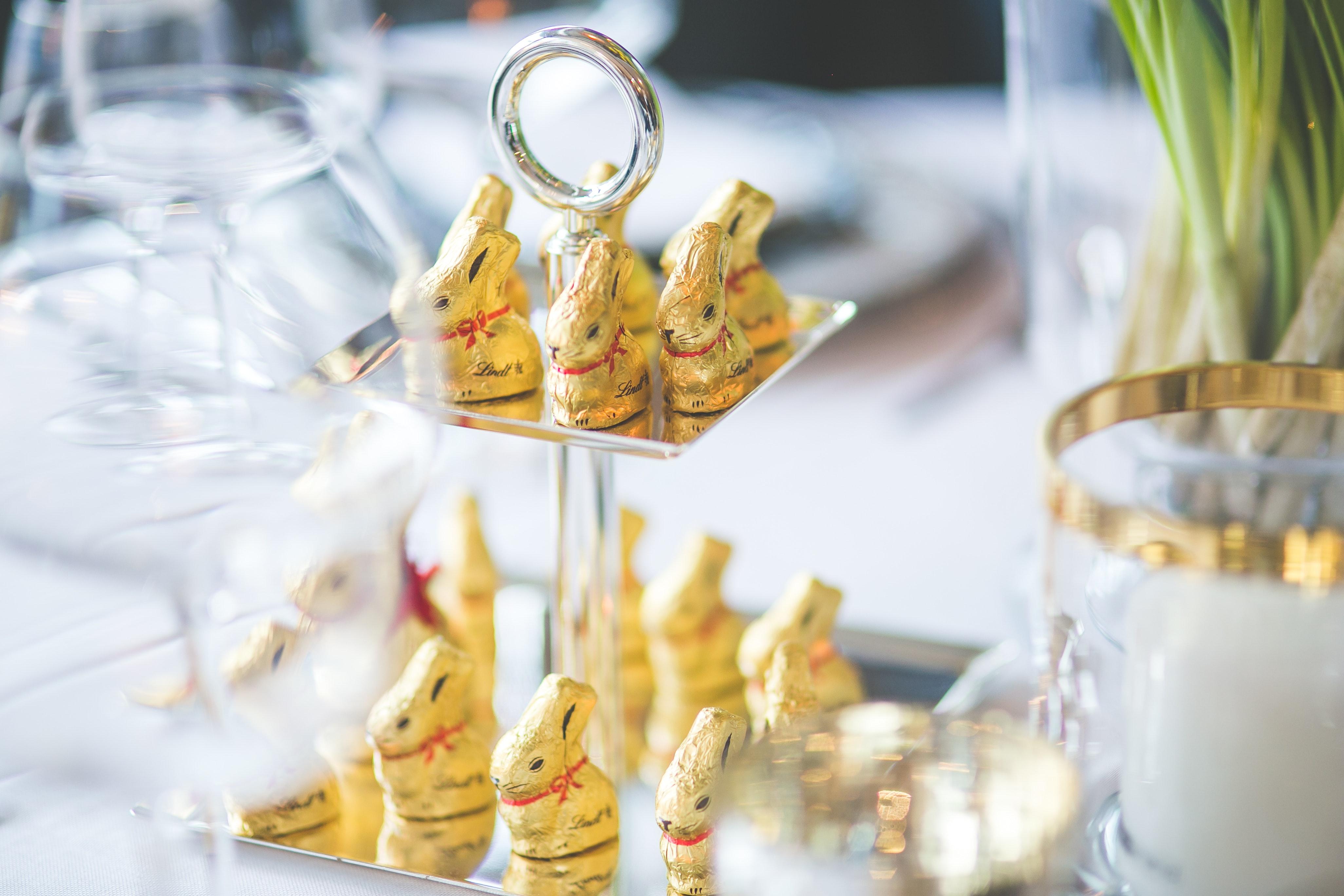 Golden bunnies on the tray photo