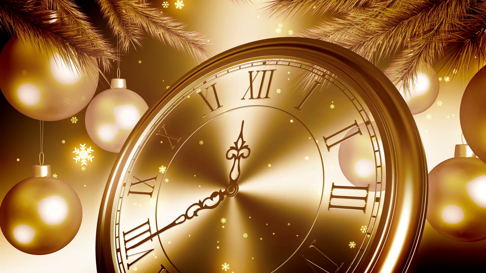 Golden New Year Clock Countdown On Gold Background. 3D Animation. 4K ...