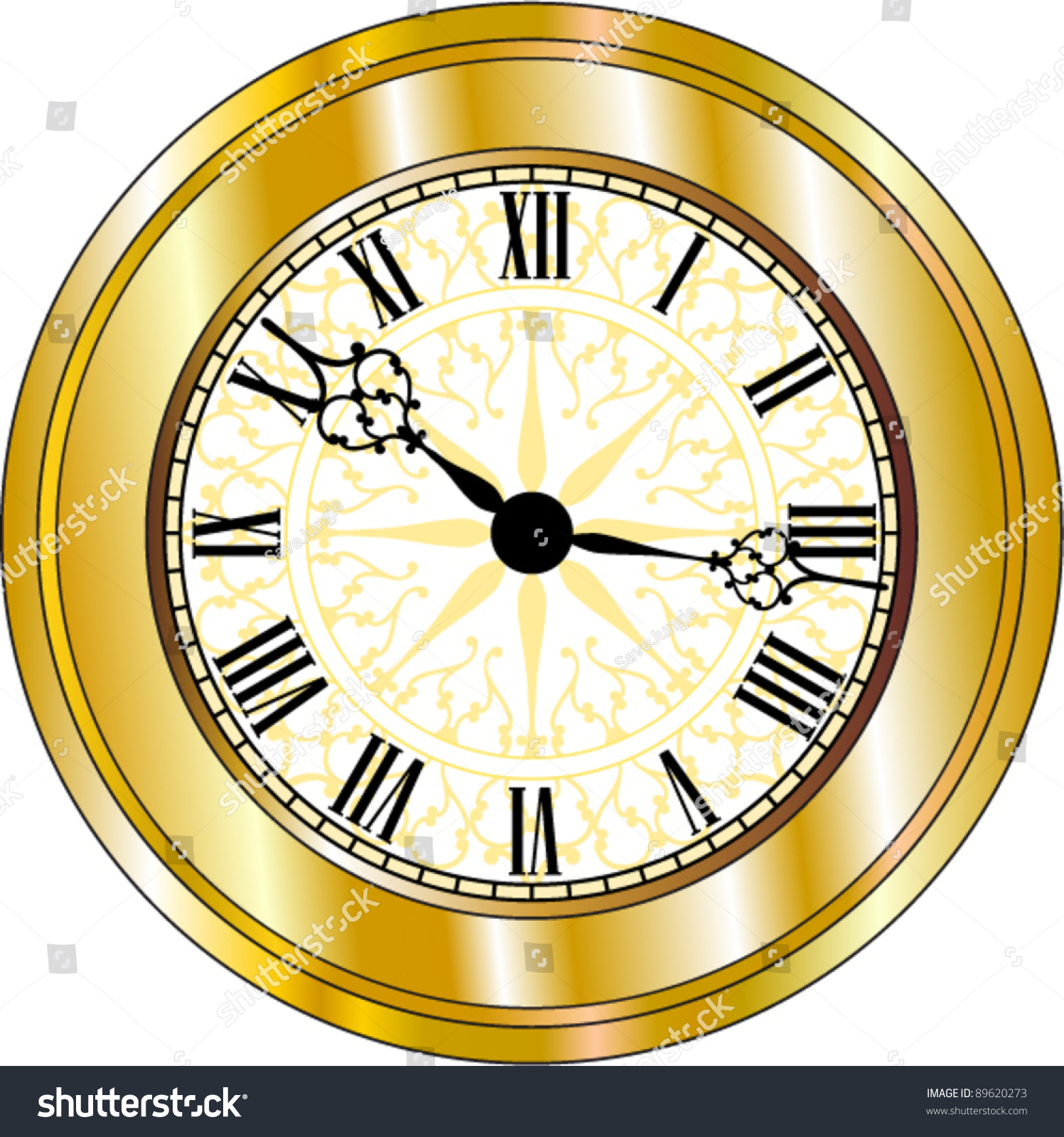 Vector Antique Looking Golden Clock Stock Vector 89620273 - Shutterstock
