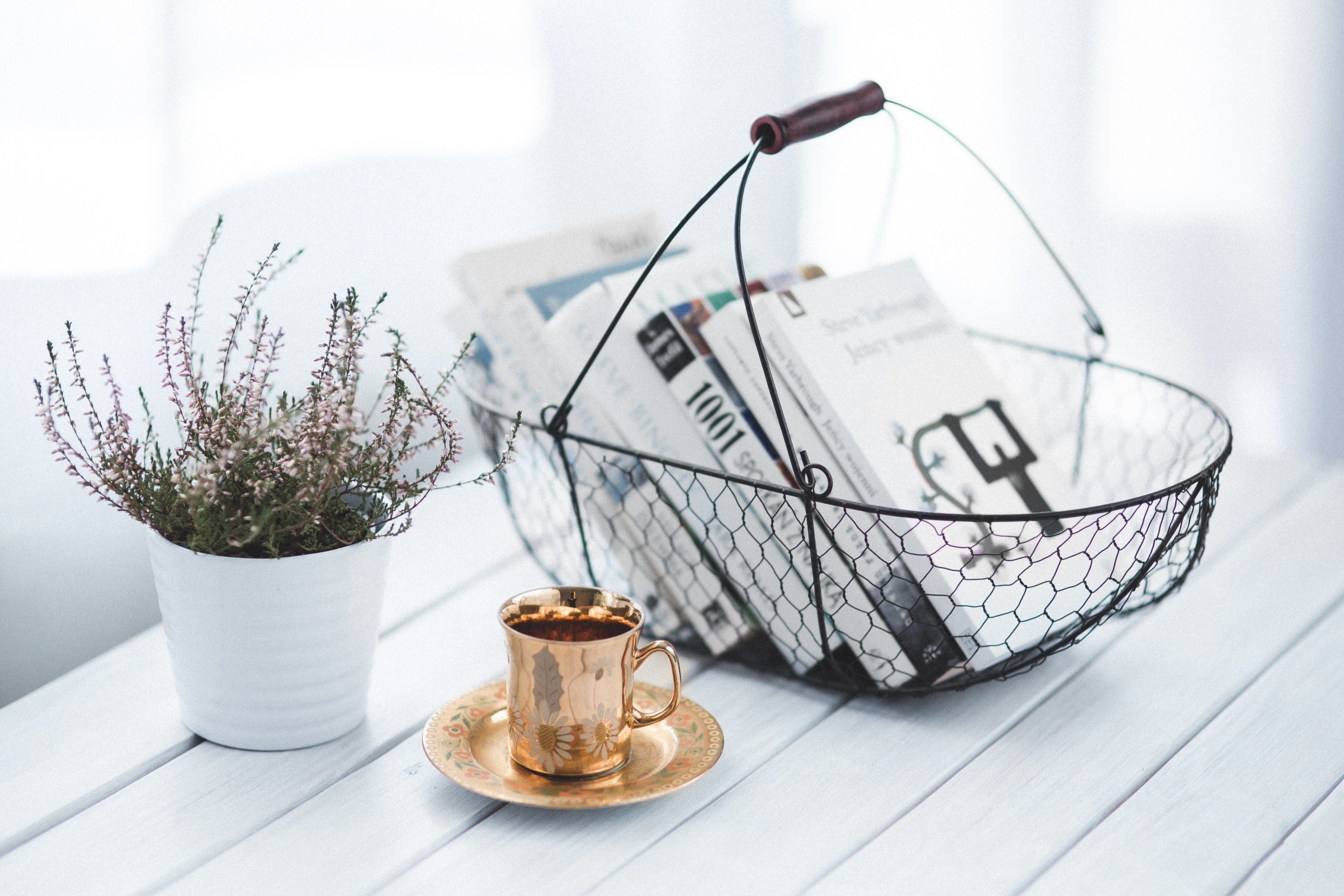 Golden cup and basket with books, Home, Wood, Wealth, Tea, HQ Photo