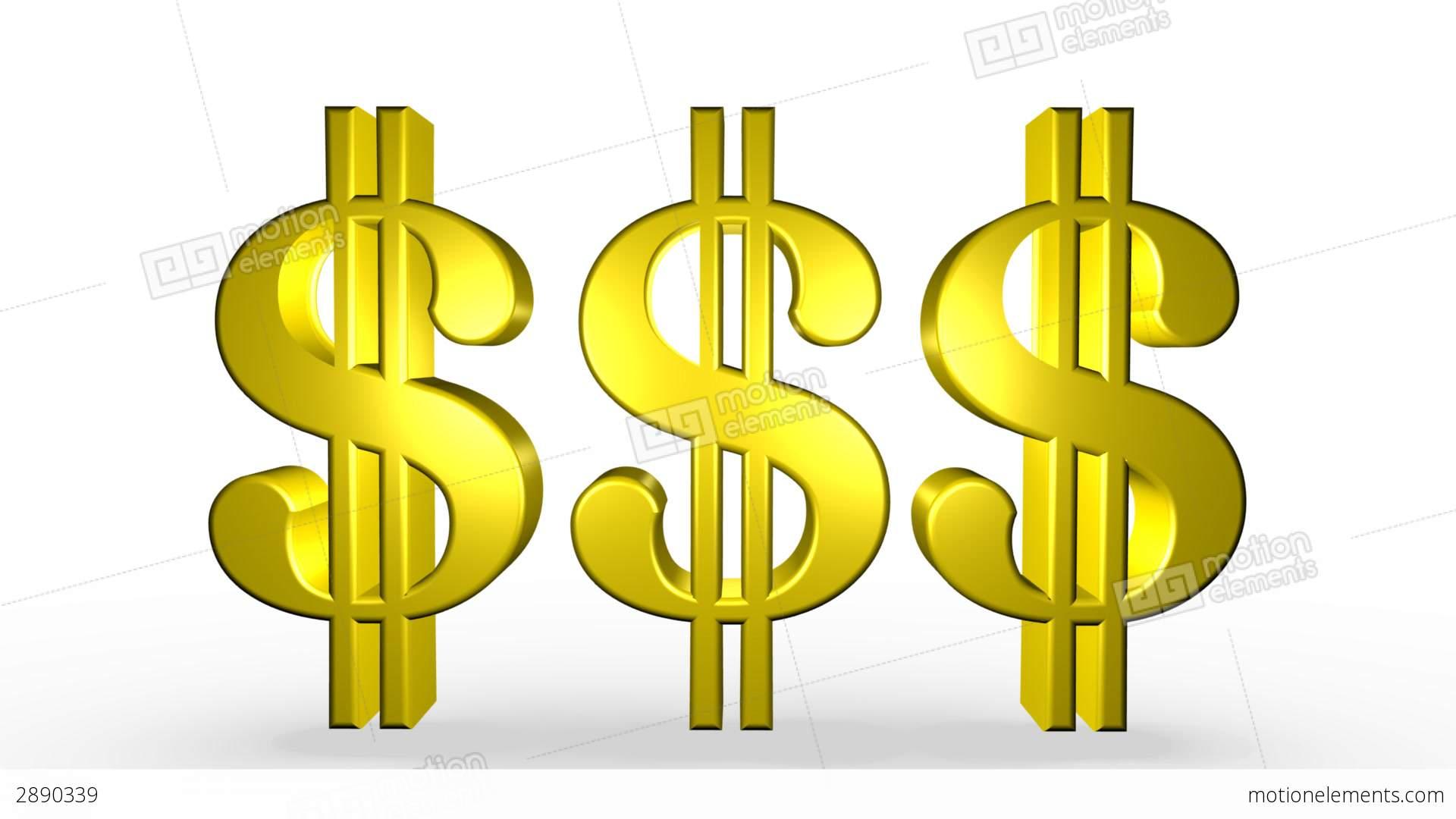 Three Golden Dollar Signs Stock Animation | 2890339