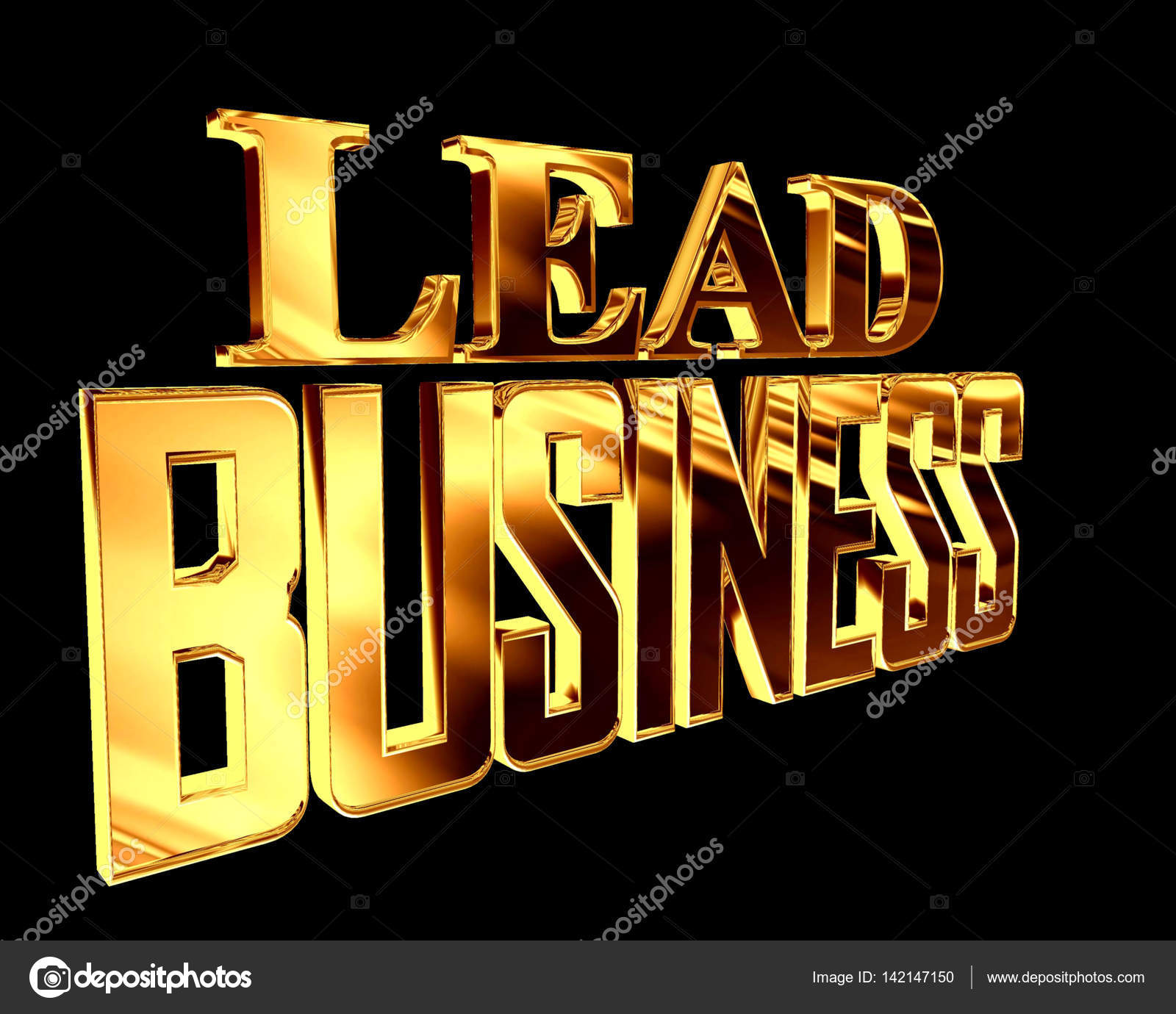 Golden Text leading business on a black background — Stock Photo ...