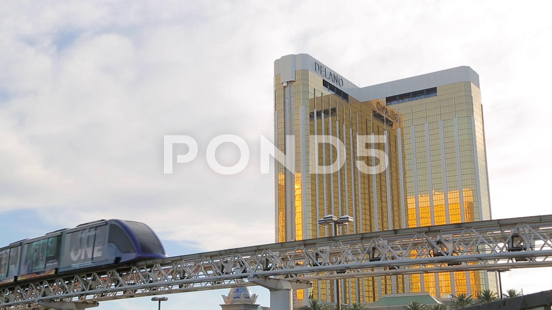 Stock Video: Golden facade of Mandalay Bay ~ #79093069