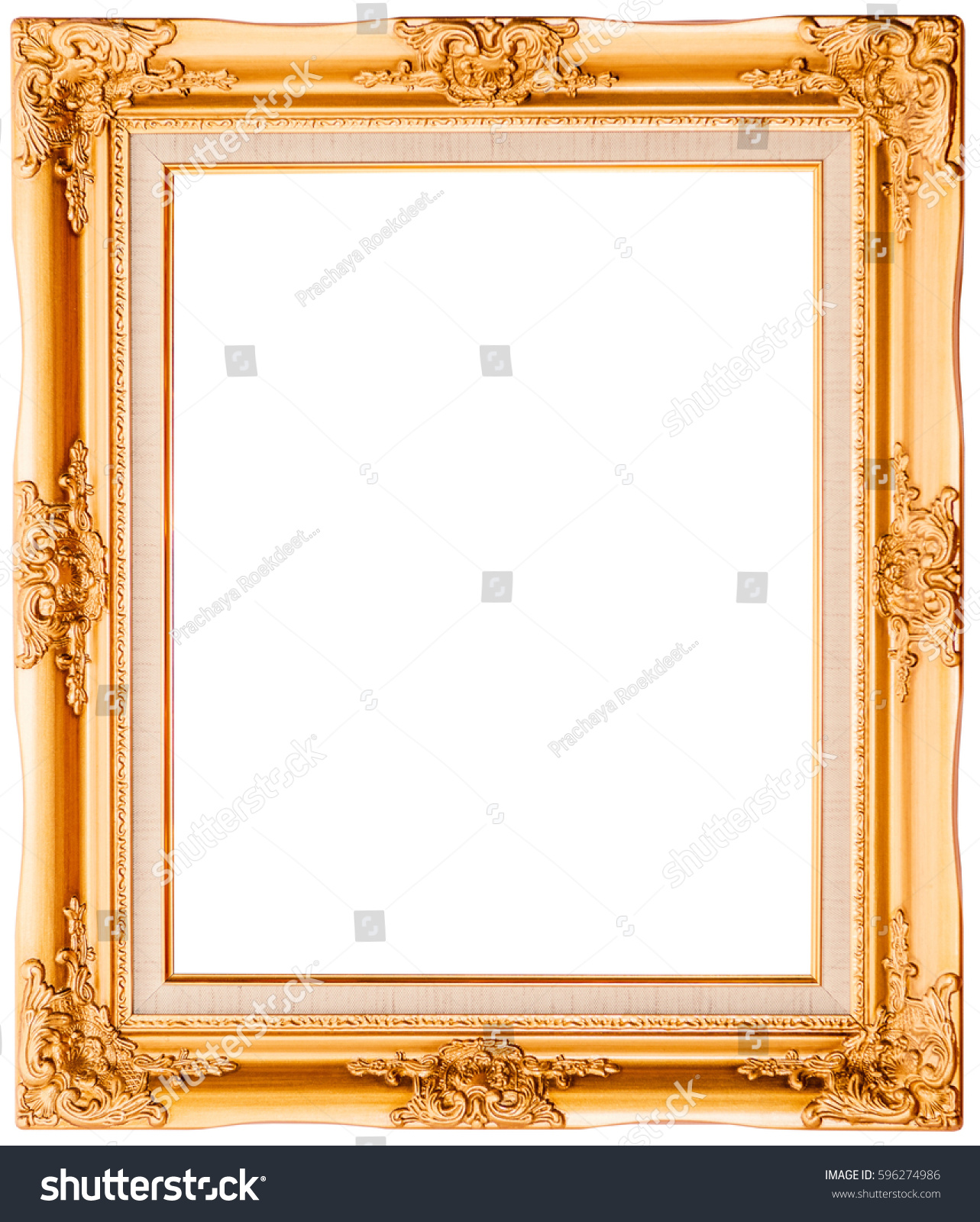 Antique Golden Frame Isolated On White Stock Photo 596274986 ...