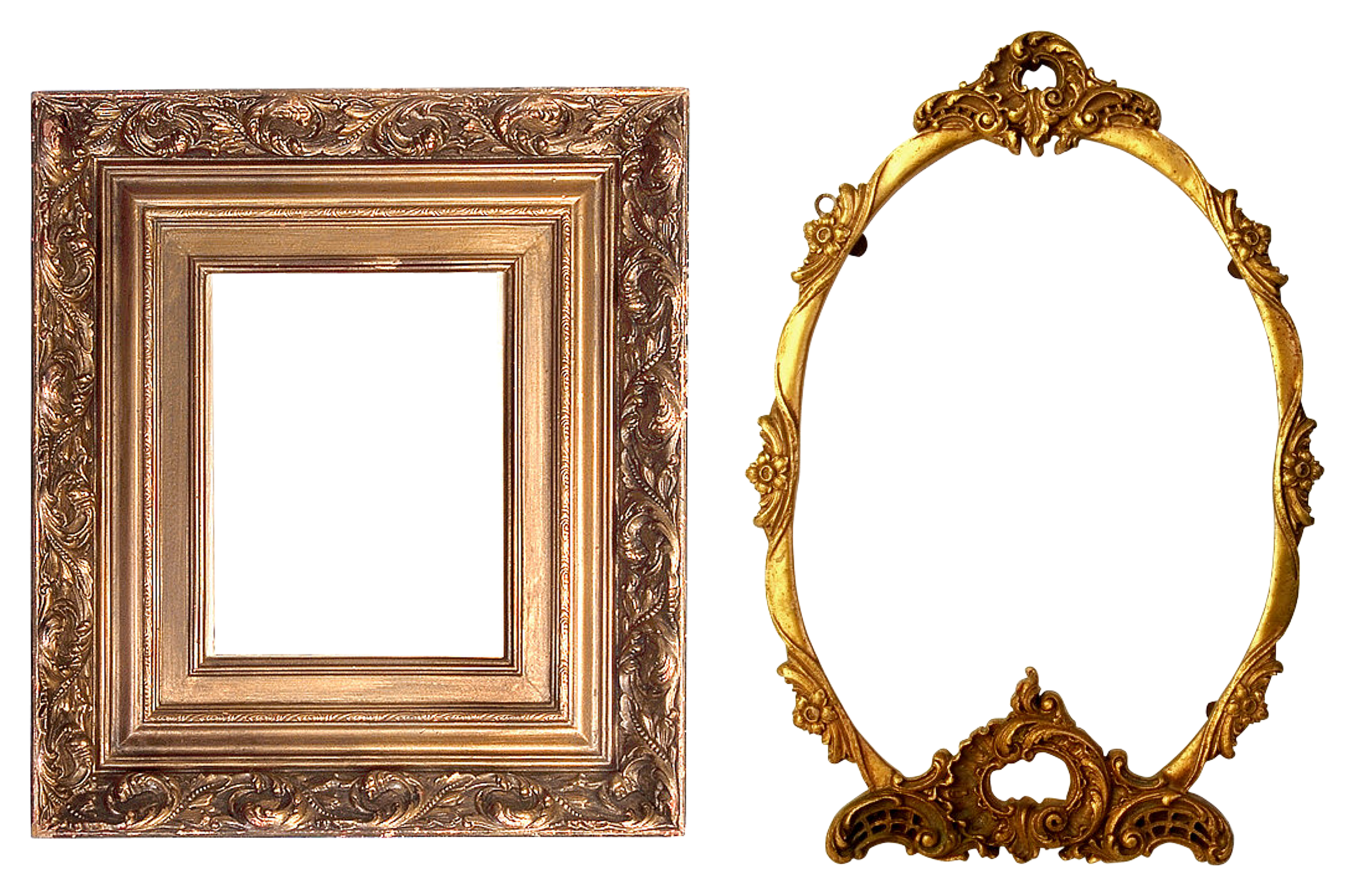 Golden Frame, Round, Texture, Object, Graphical, HQ Photo