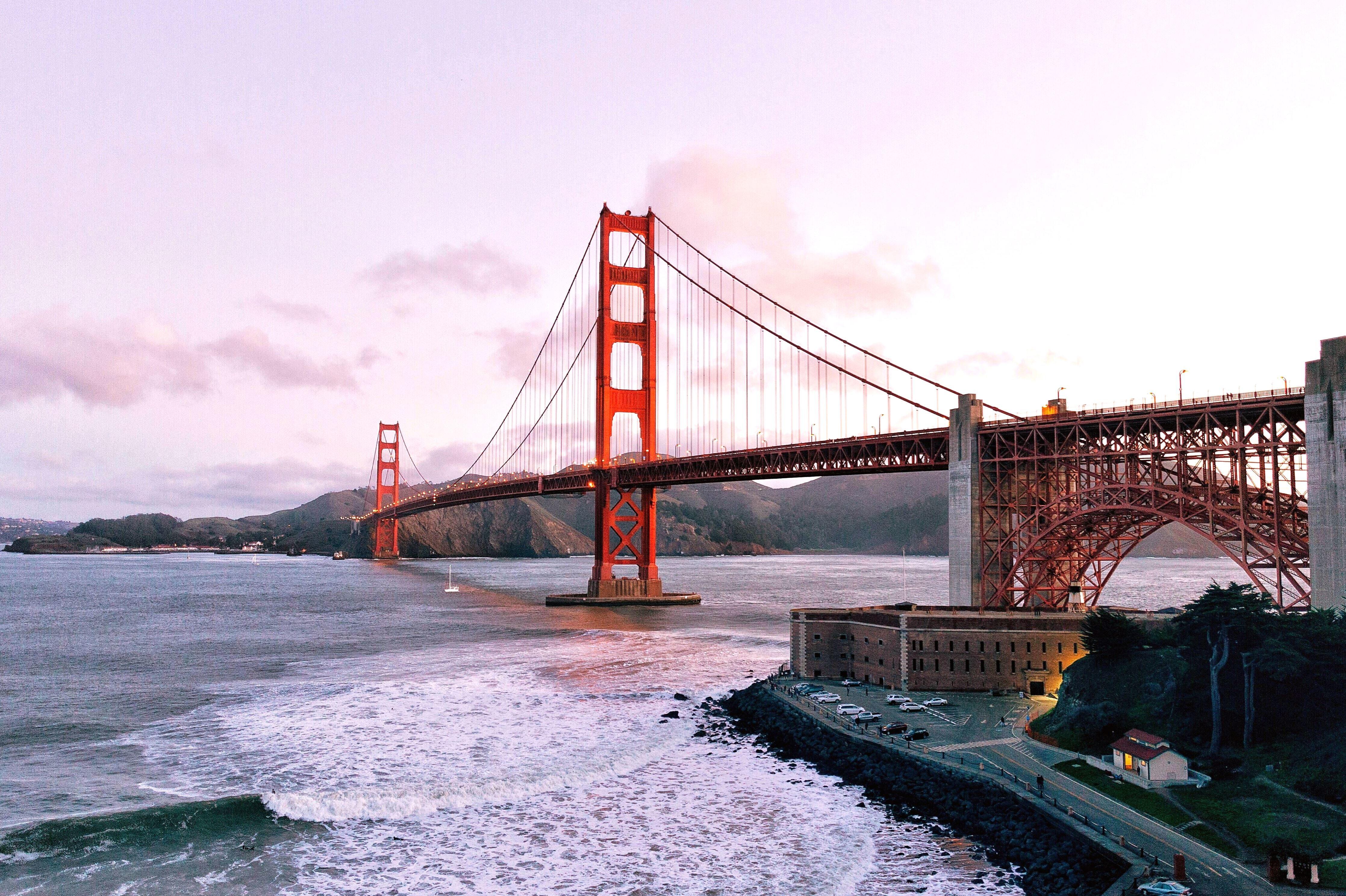 Free picture: water, waves, bridge, golden gate bridge