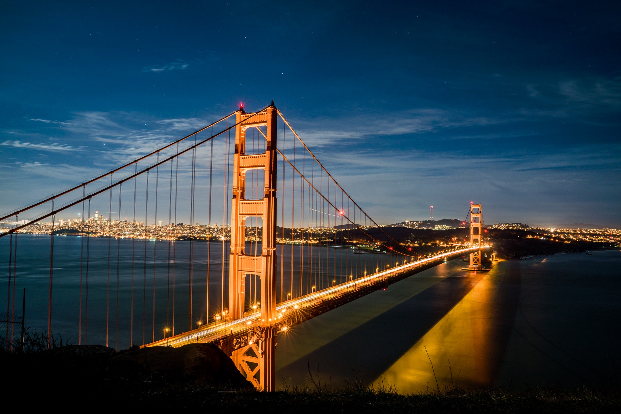 Golden Gate Bridge, Sunset, Suspension, Steel, Sky, HQ Photo