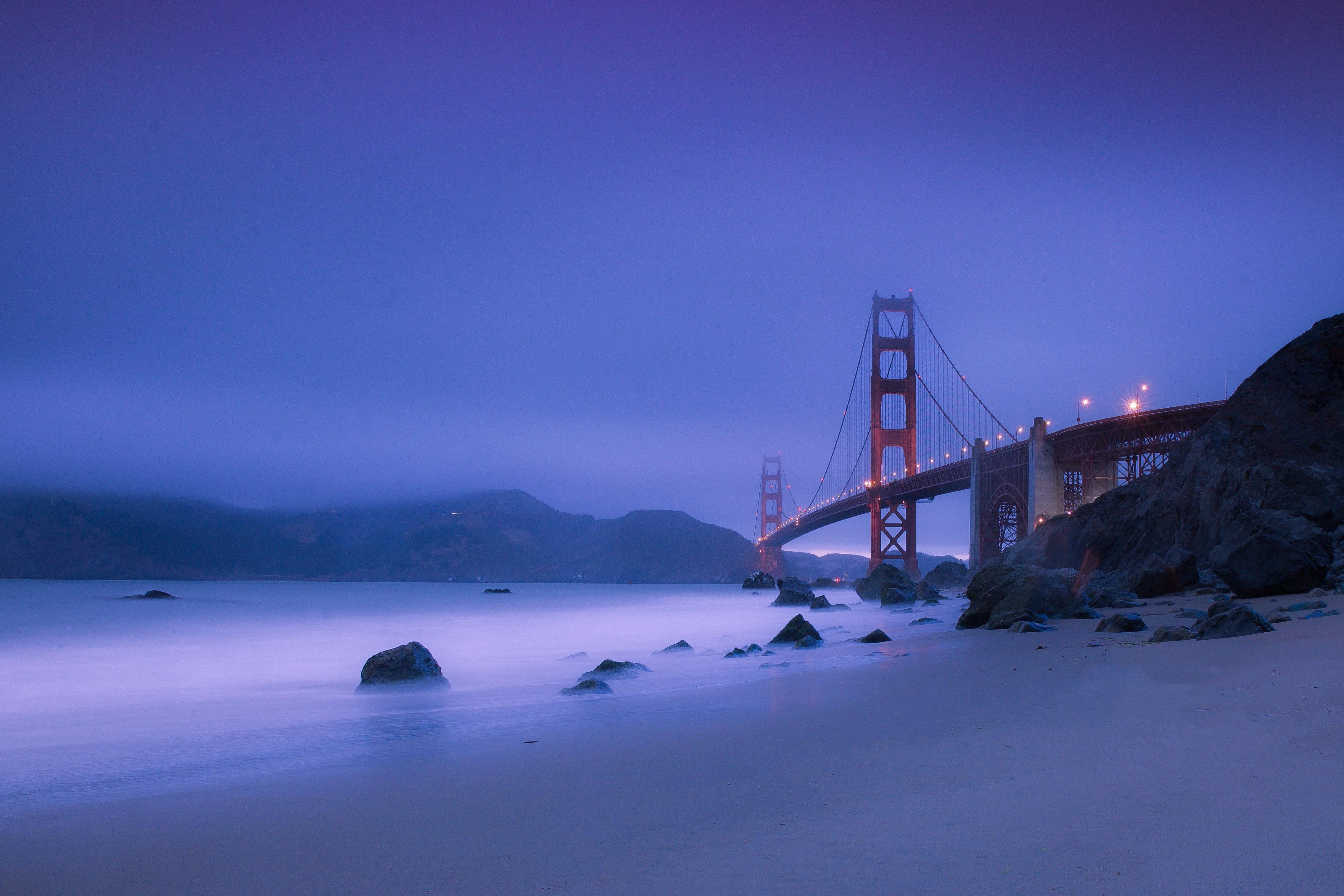 Golden Gate Bridge during Nighttime, Ocean, Winter, Water, Travel, HQ Photo