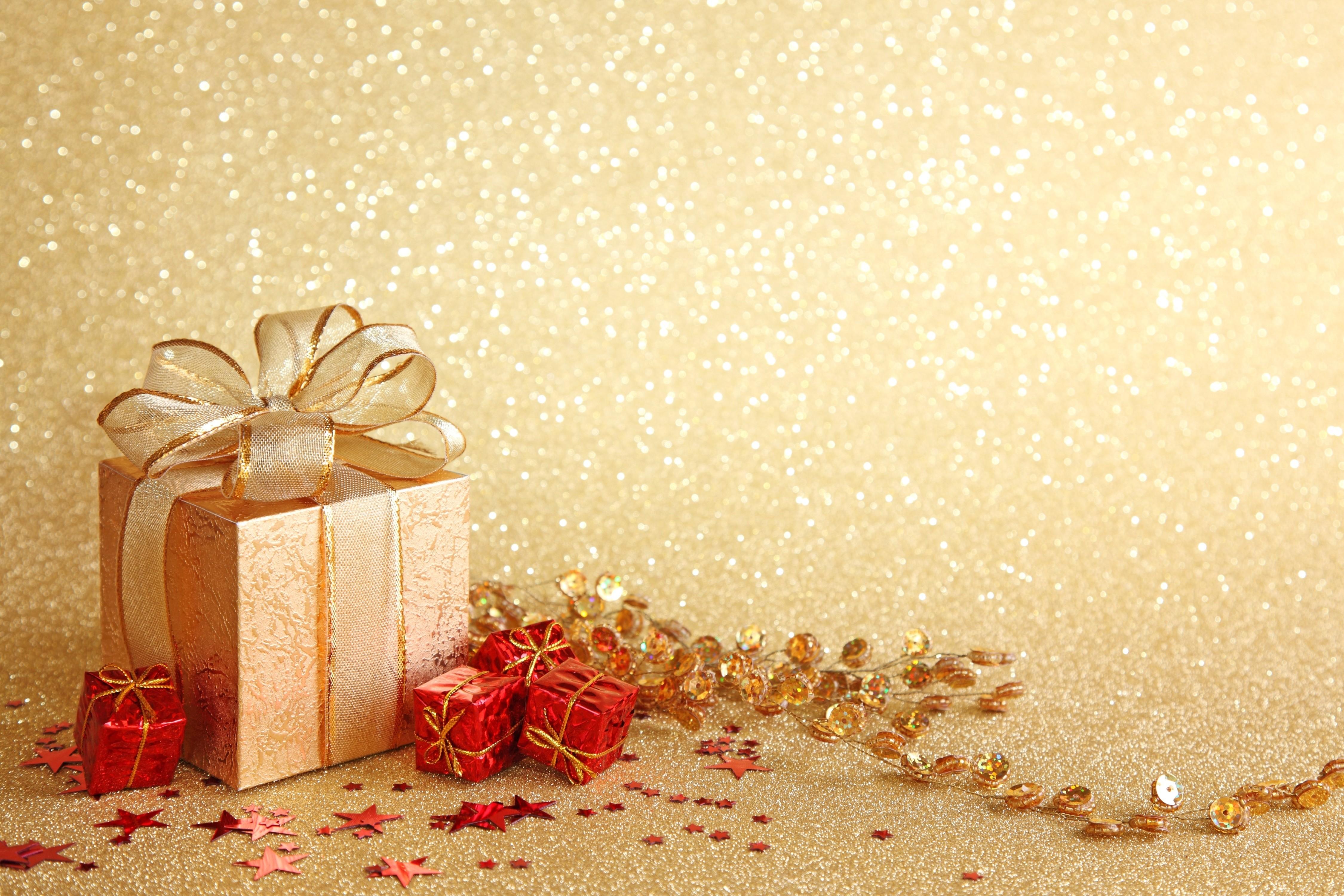 Golden gift background photo