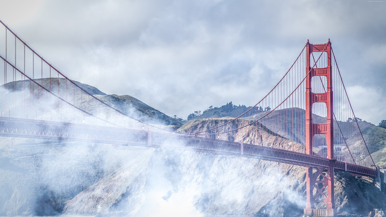 San Francisco, 4k, 5k wallpaper, Golden Gate, USA, fog, bridge ...