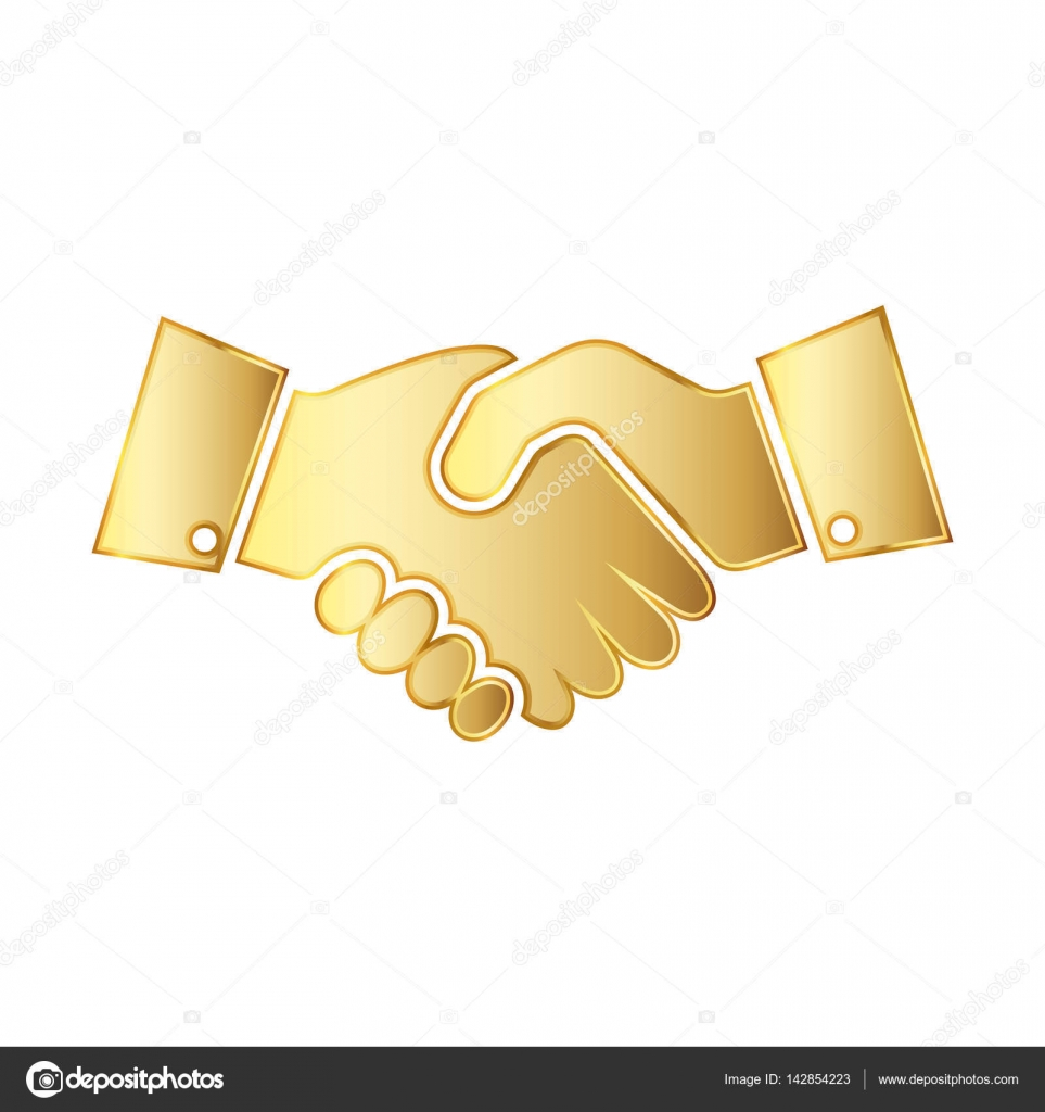 Golden handshake icon. Vector illustration. — Stock Vector ...