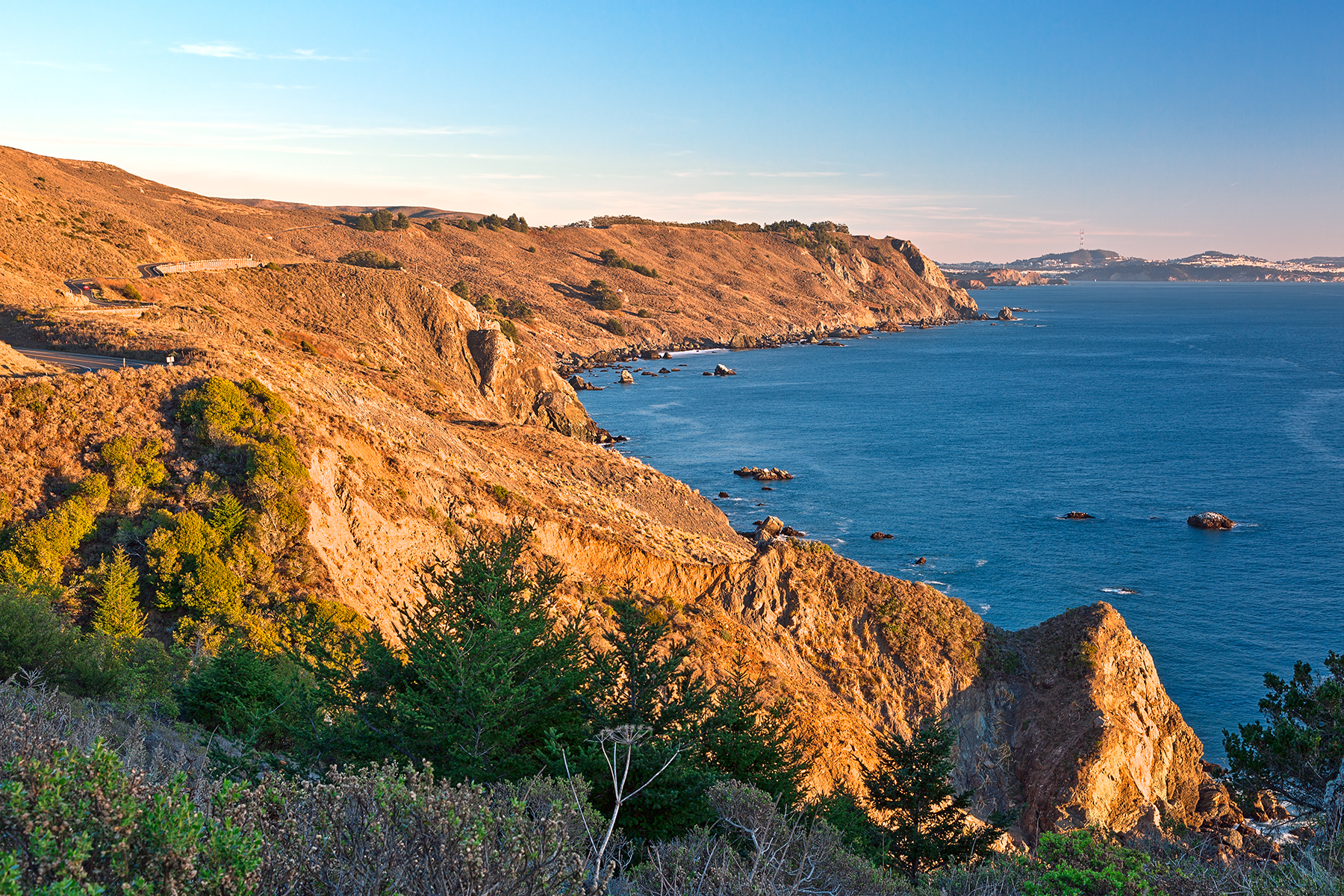 Golden Hour Coast - Point Reyes HDR, America, Reyes, Shades, Shade, HQ Photo