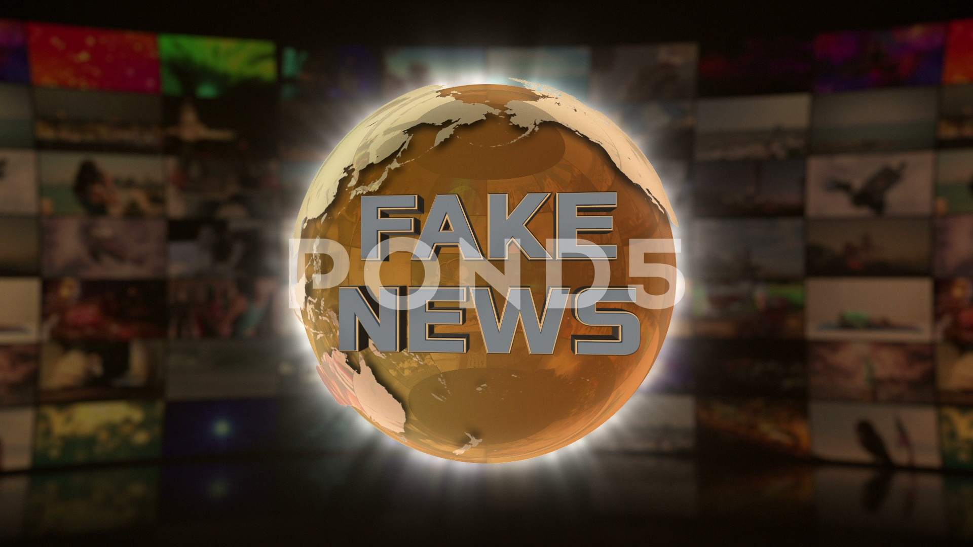 Fake News On Screen 3D Animated Text Graphics Full HD Gold Golden ...