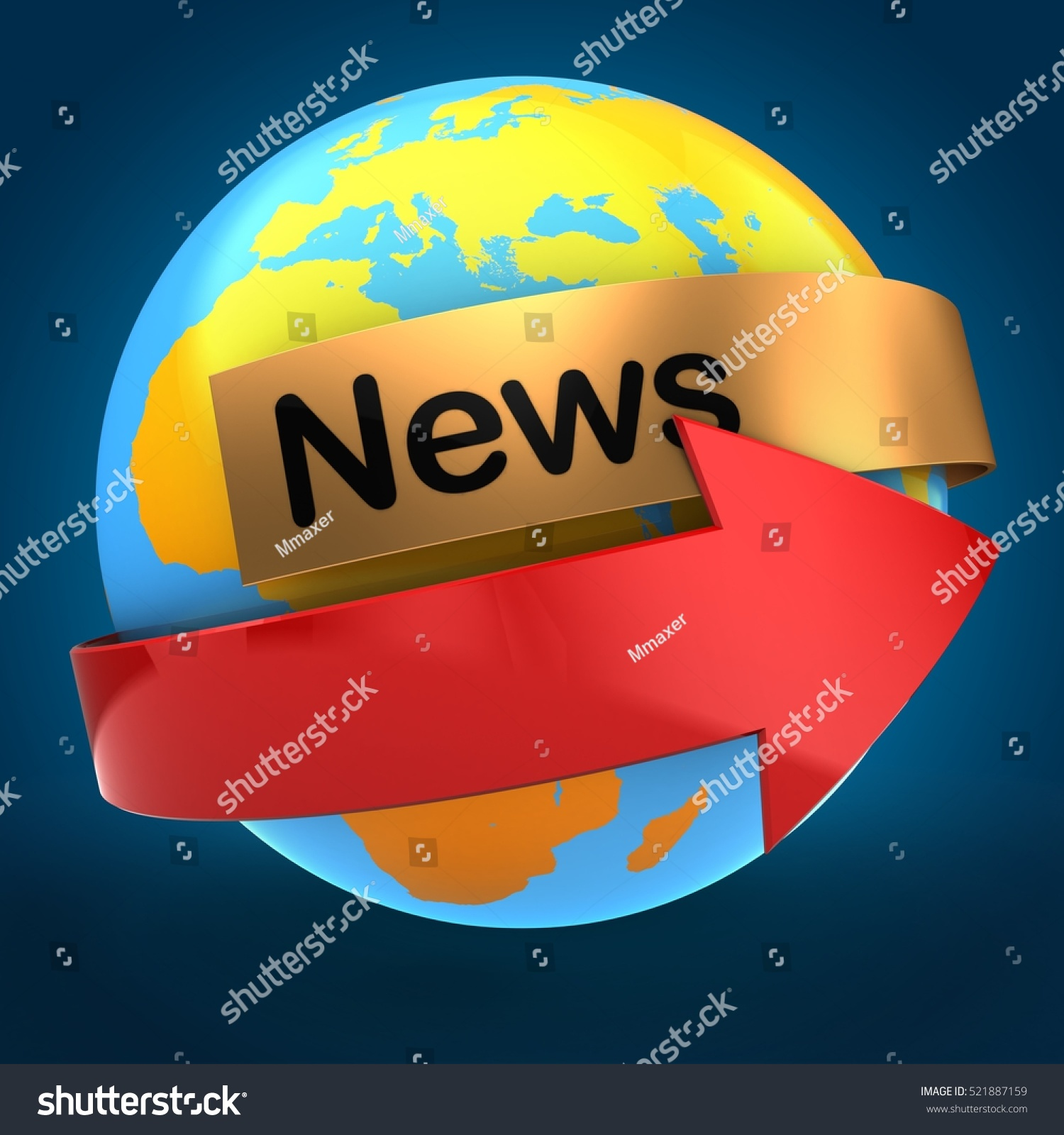3d Illustration Orange Earth Globe Over Stock Illustration 521887159 ...