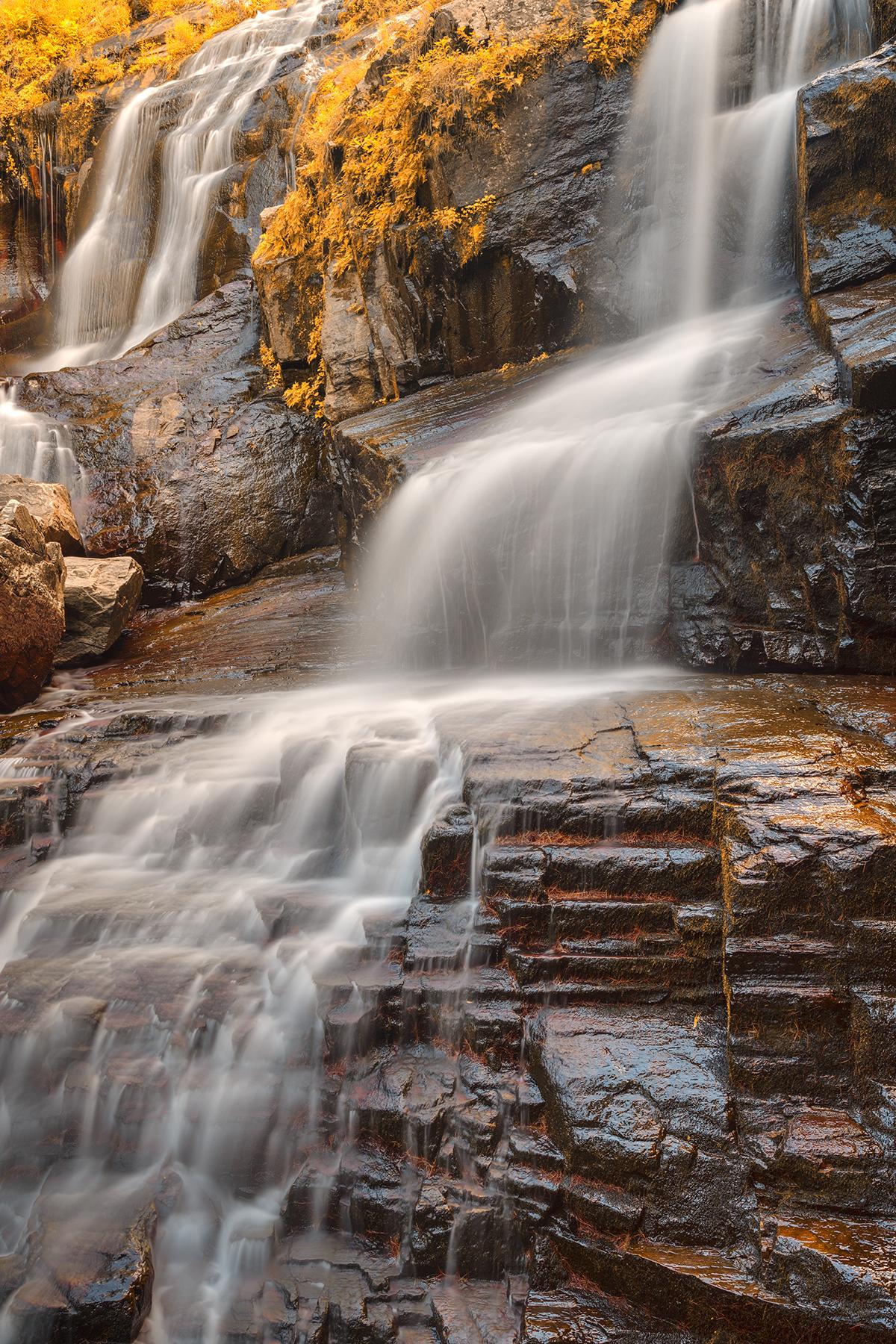 Golden shelving rock falls - hdr photo
