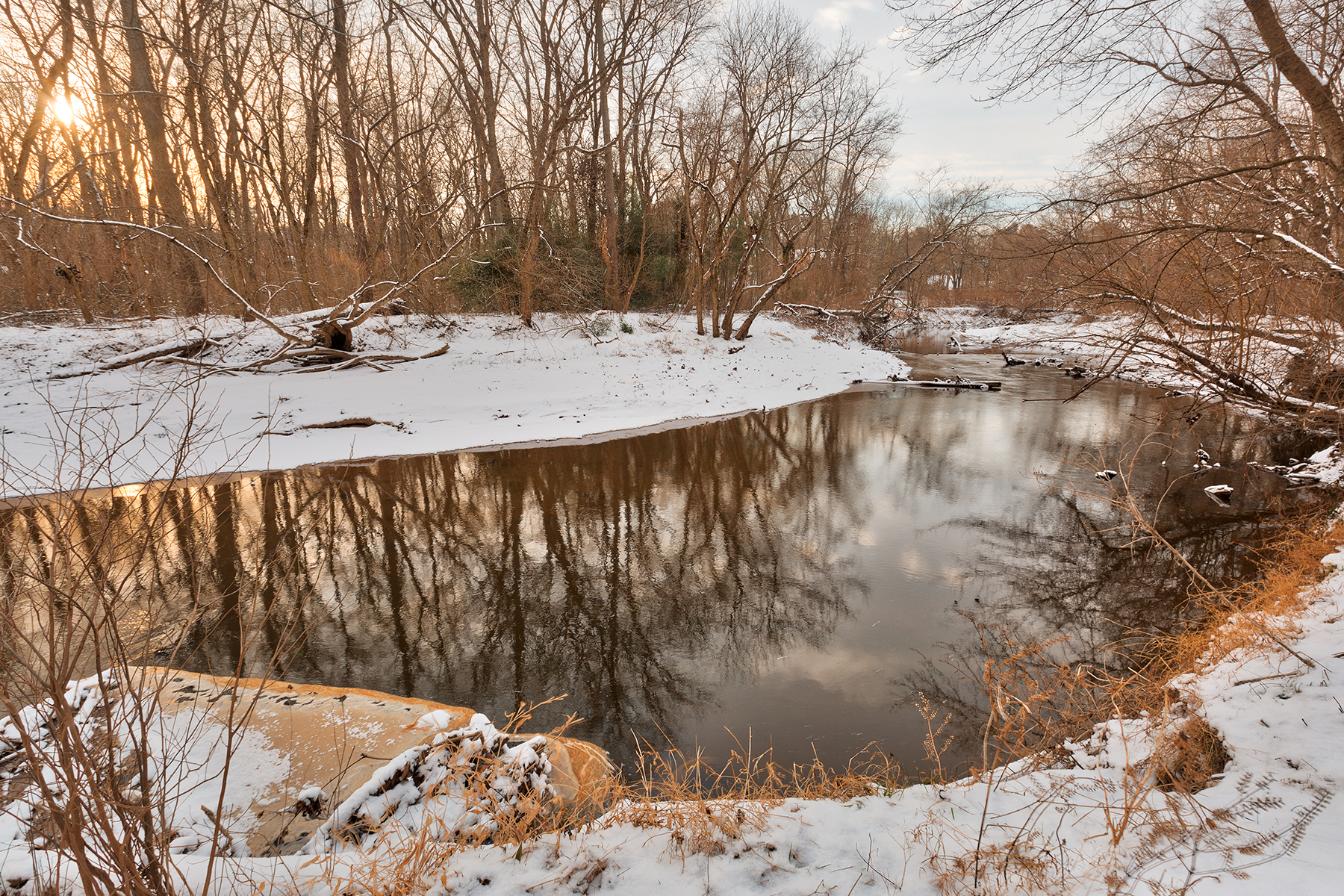 Golden Winter Hour of Rock Creek - HDR, , Reflection, Shadows, Shadow, HQ Photo
