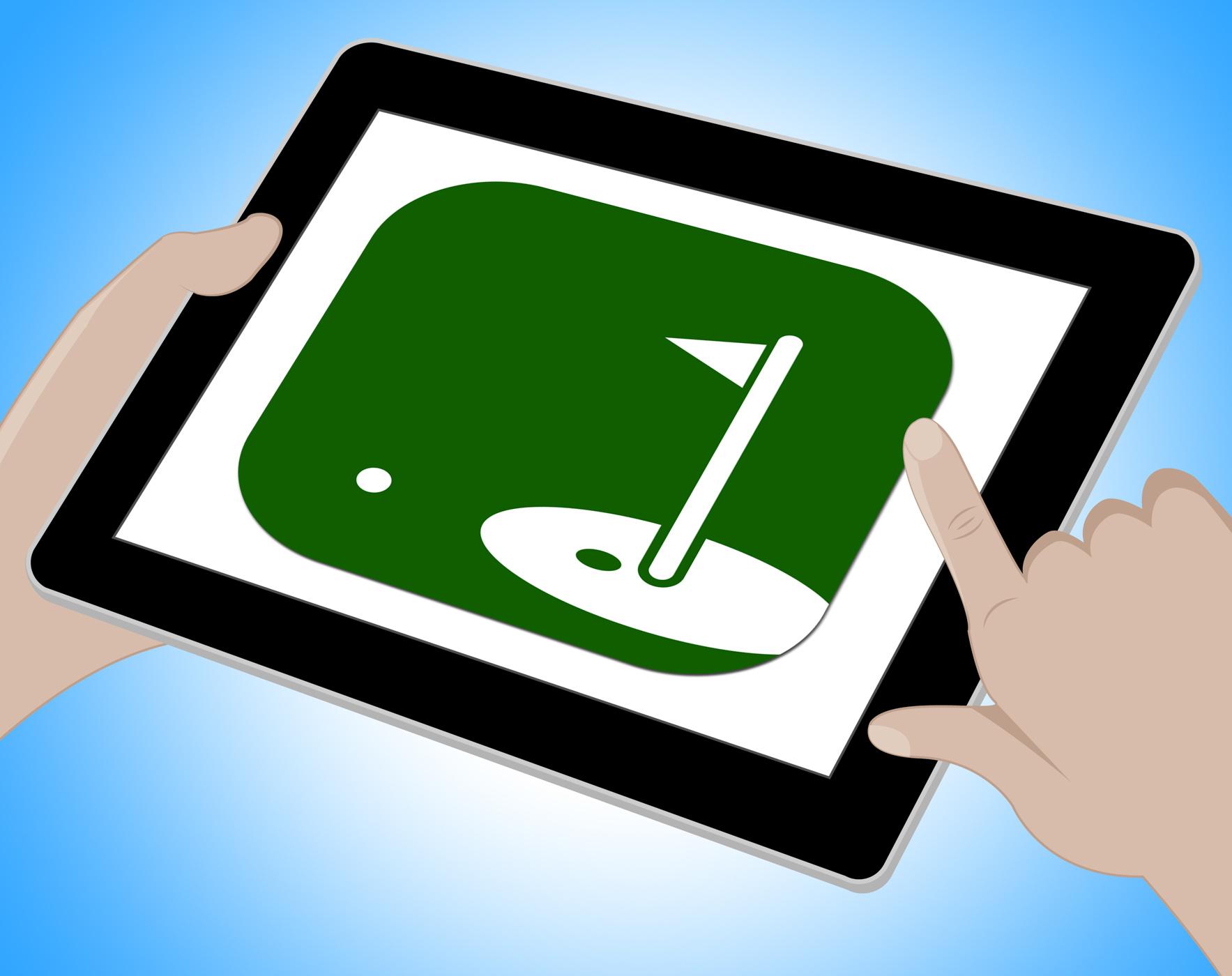 Golf online shows internet golfer 3d illustration photo