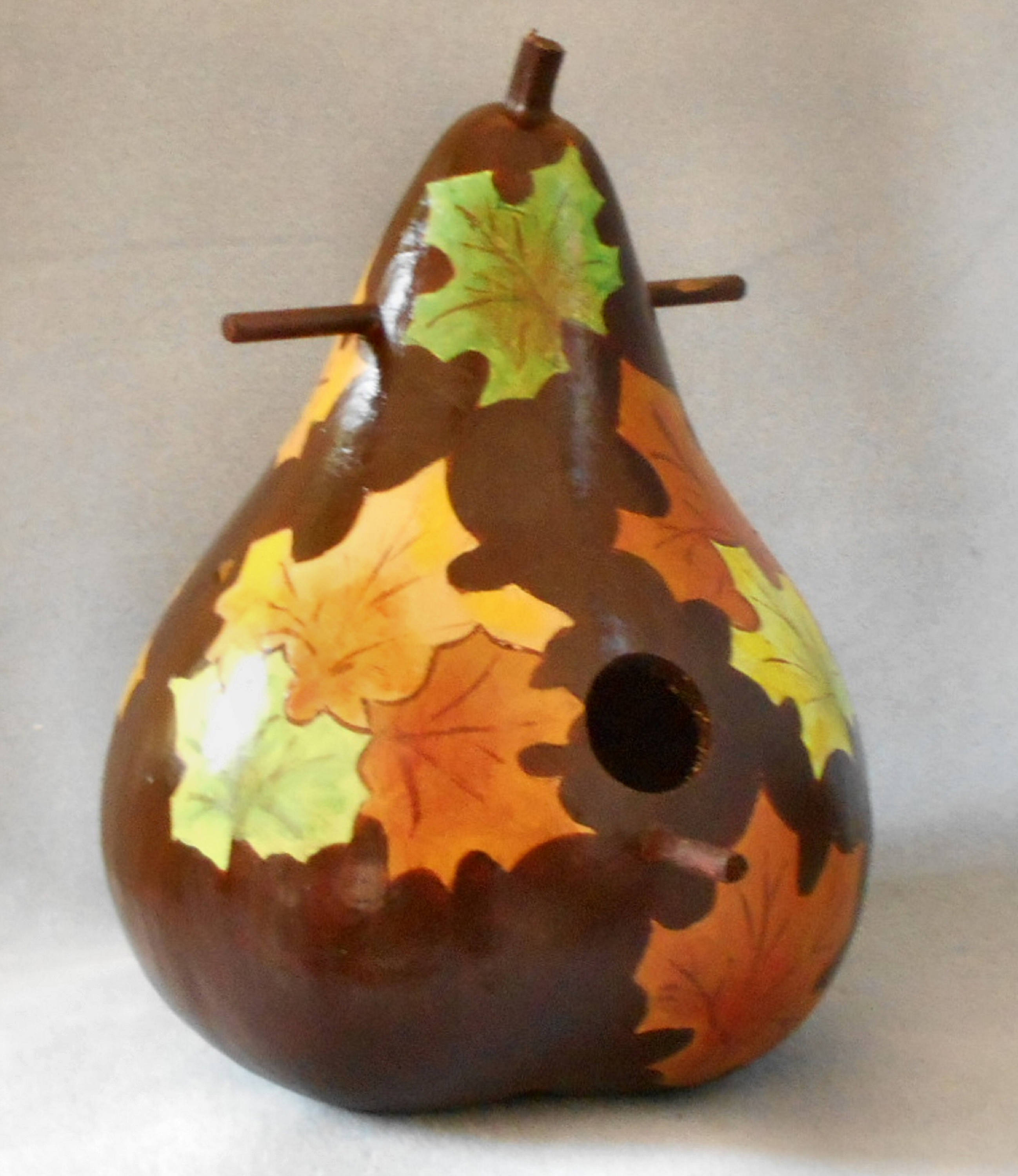 Bird House Gourds Autumn Leaves Hand Painted Gourduse For Sale ...