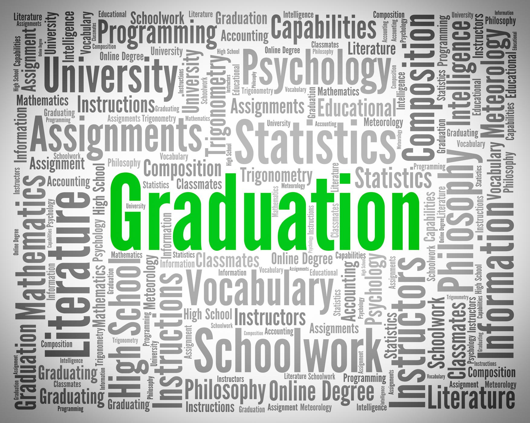 Graduation word represents university phd and diploma photo