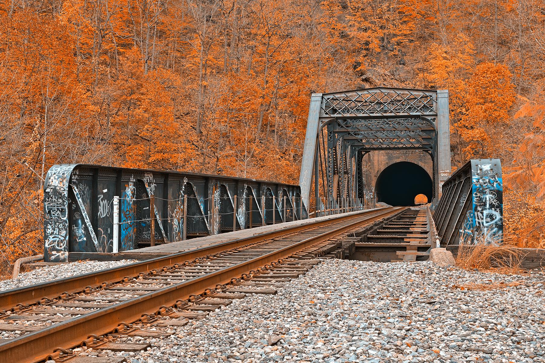 Graffiti train track - amber autumn hdr photo
