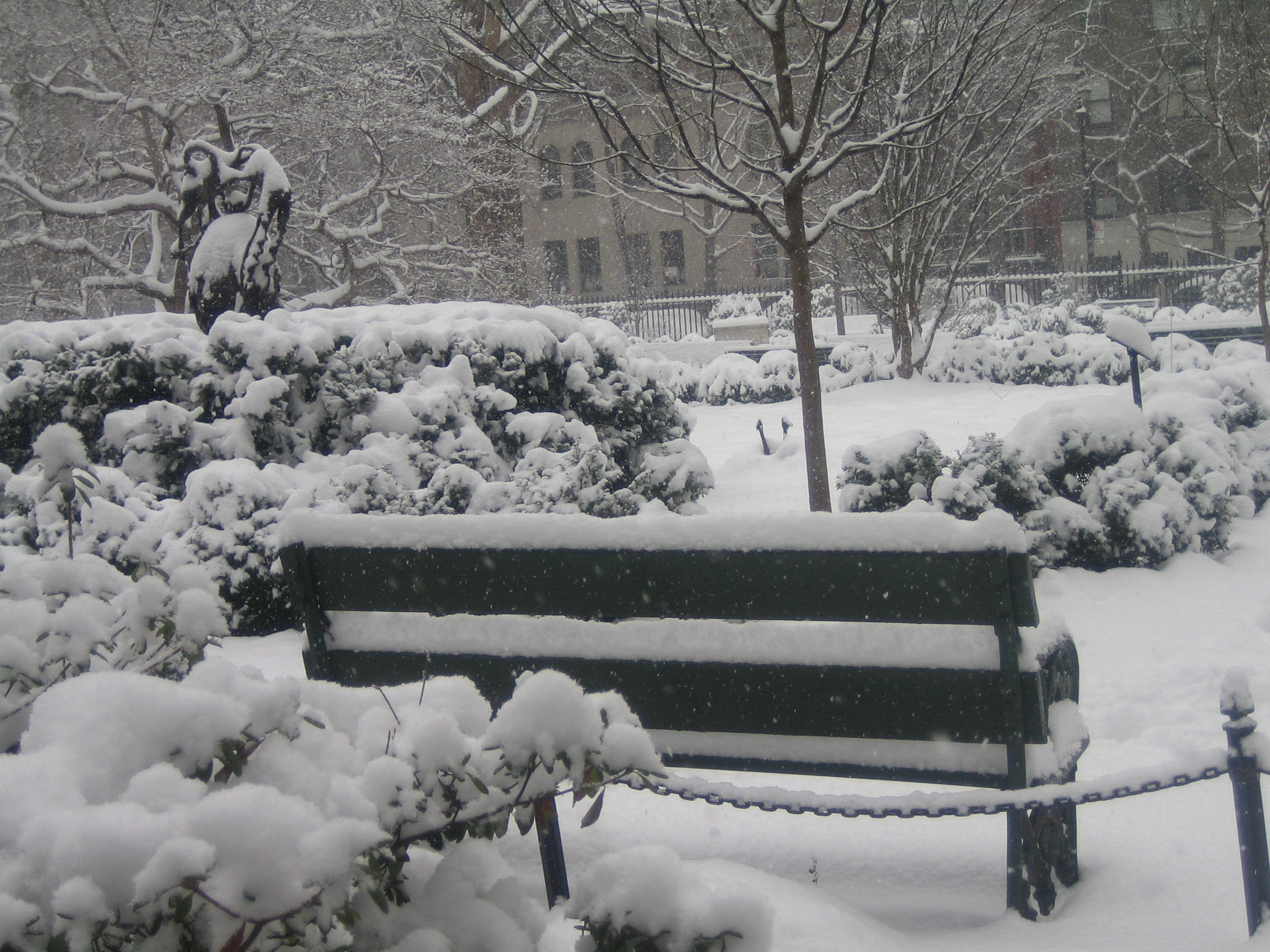 Gramercy Park in the winter, Bench, Cold, Covered, Garden, HQ Photo
