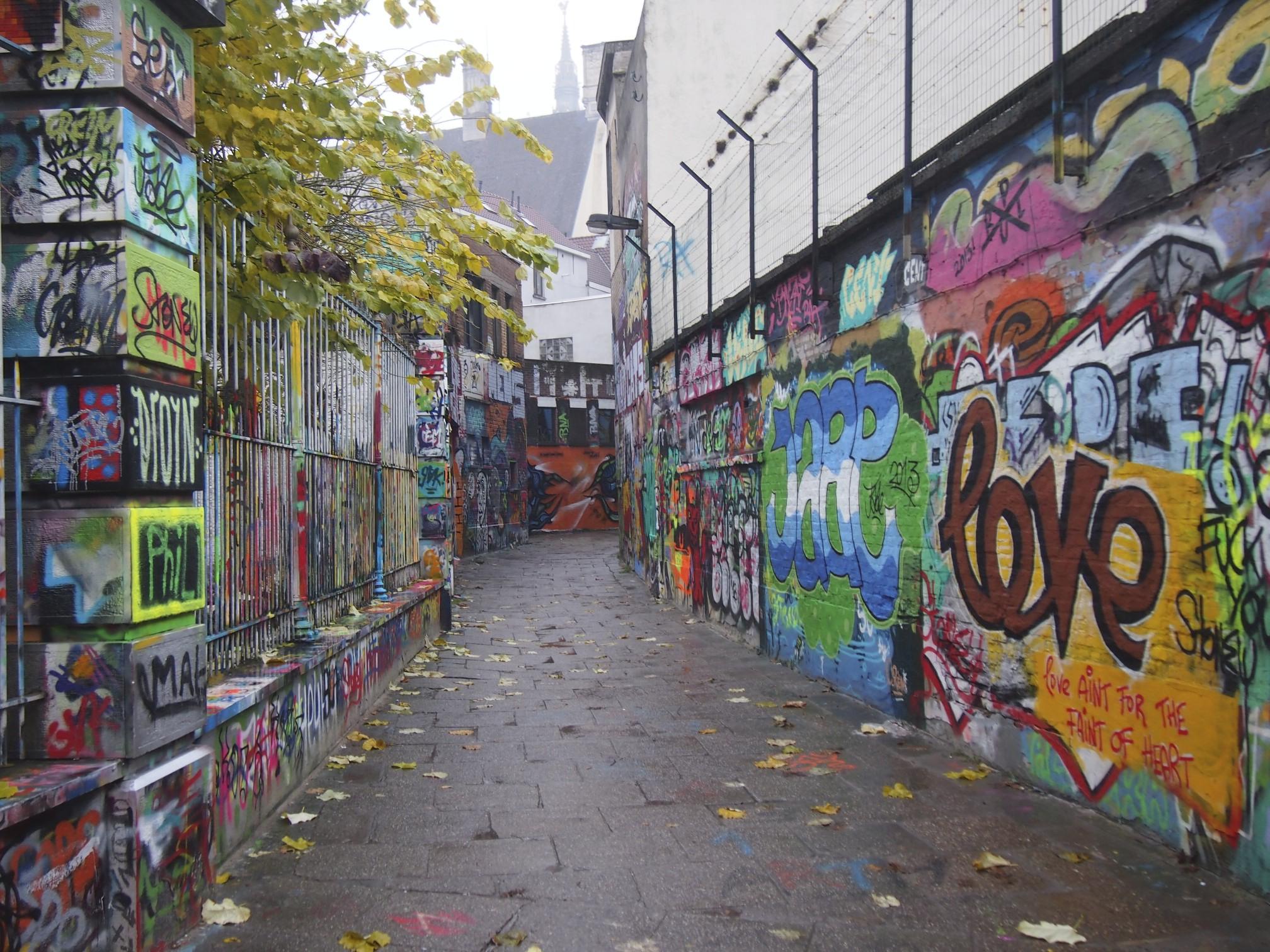 Graphic art street in ghent, belgium photo