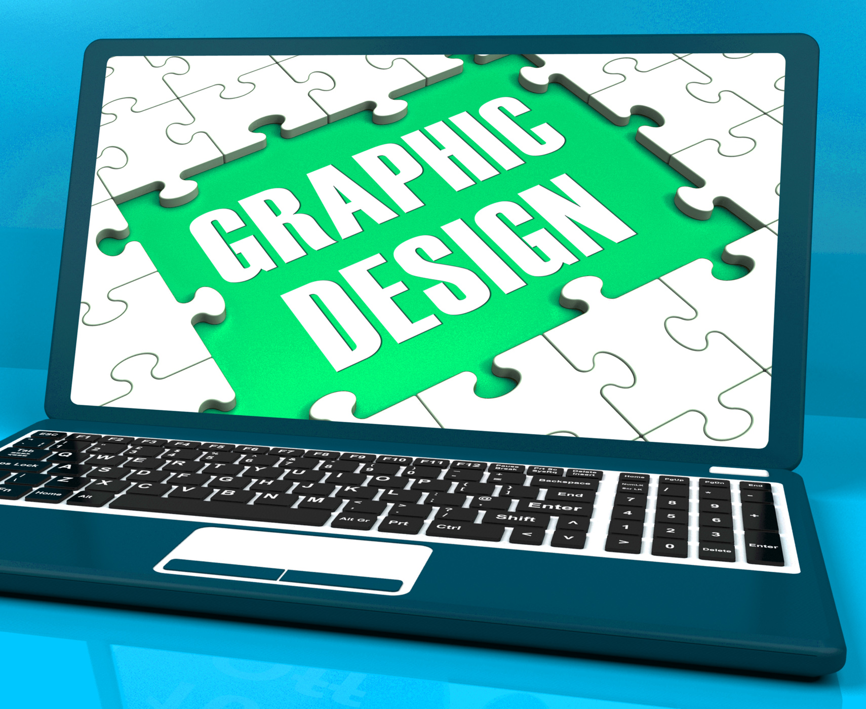 Graphic design on laptop shows stylized creations photo
