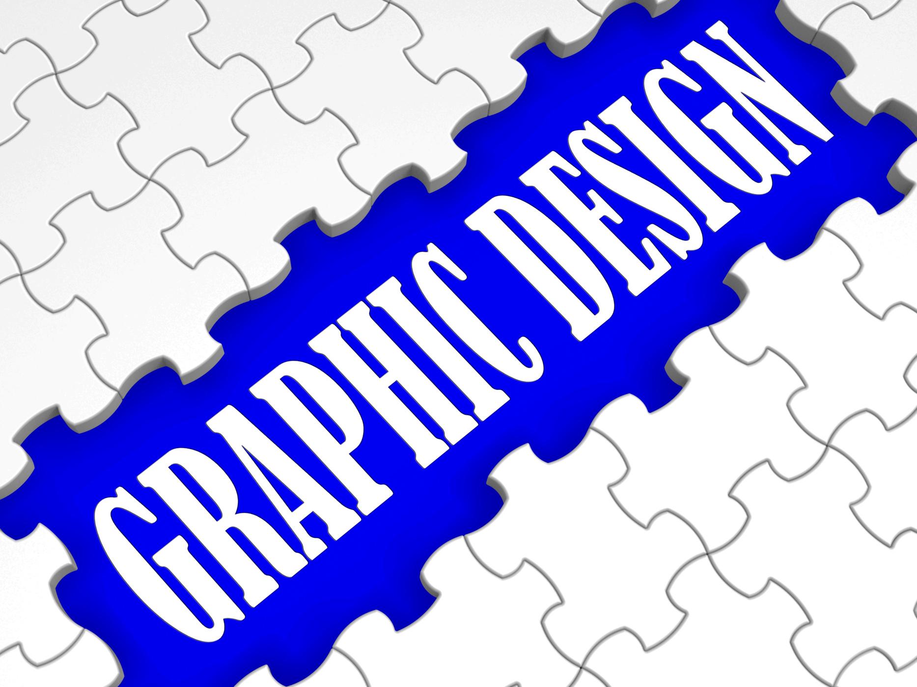 Graphic design puzzle shows digital creativity photo