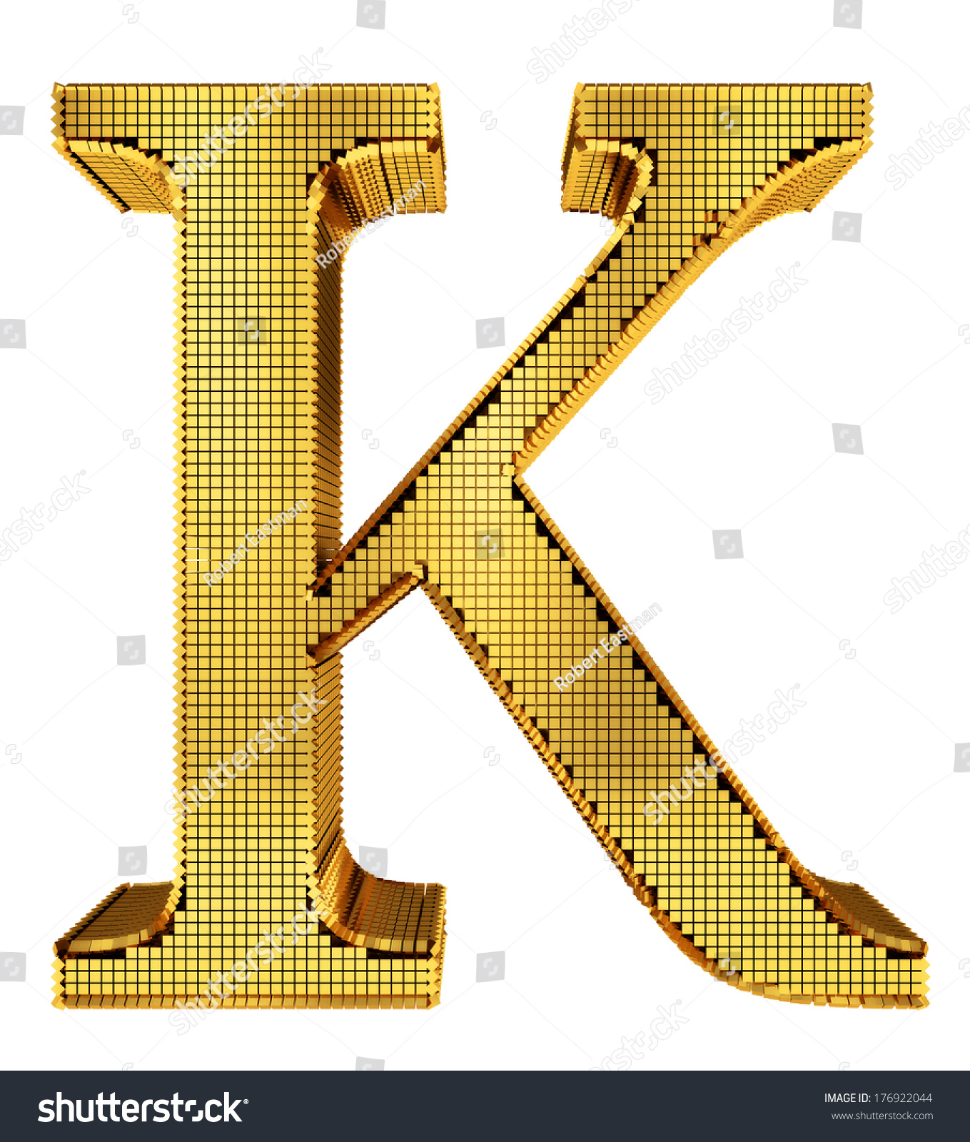 Graphical Rich Golden Cube Patterned Letter Stock Illustration ...