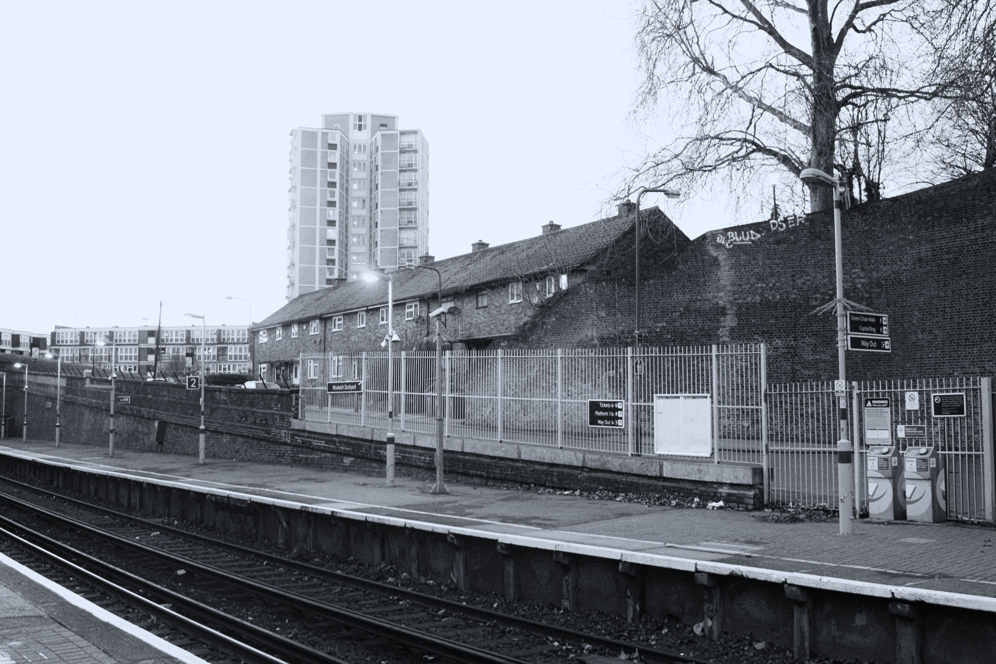 Grasscayle Photo of Fence Near Building, Architecture, Railway line, Tree, Train tracks, HQ Photo